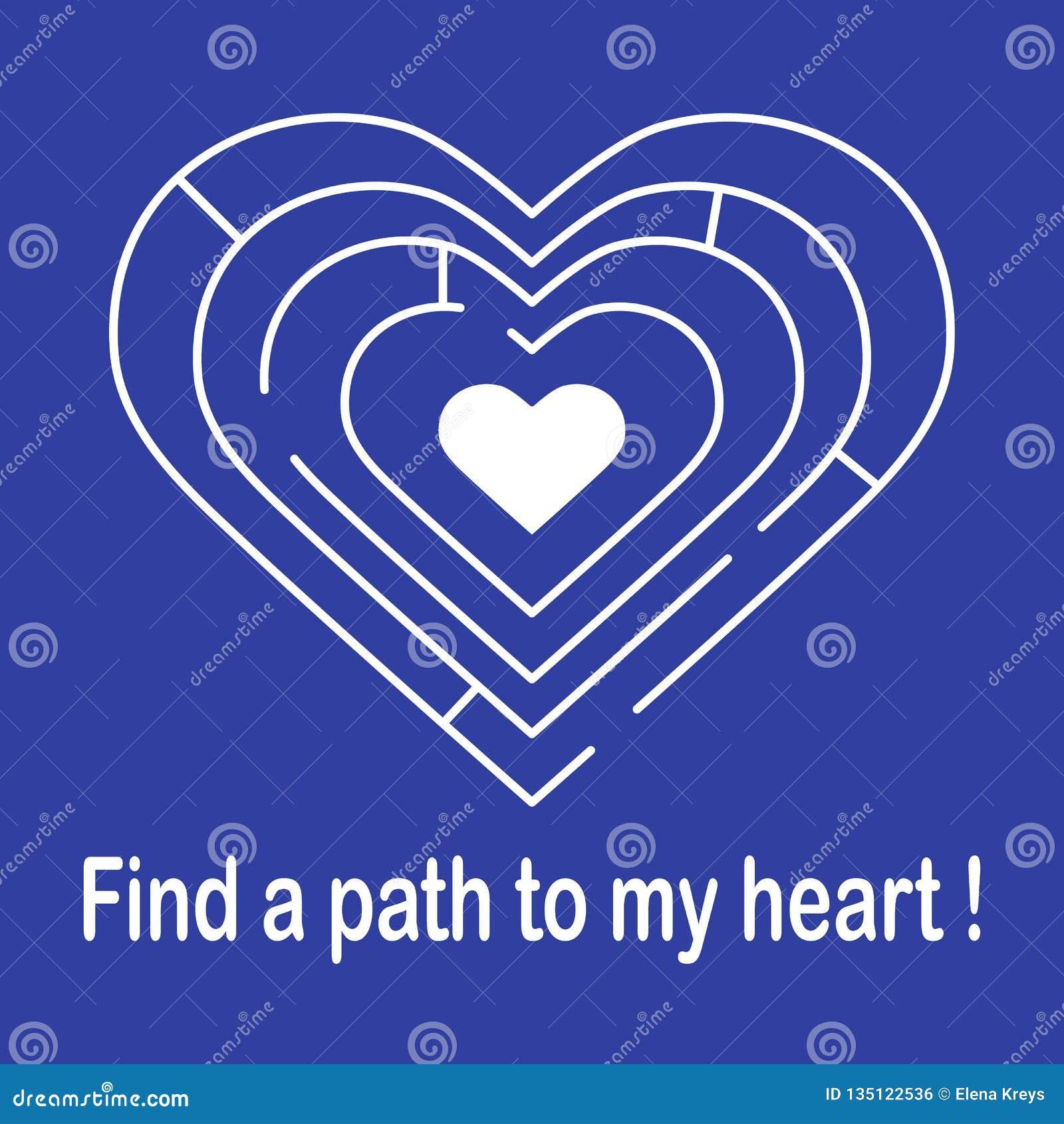 对心脏的迷宫 被限制的日重点例证s二华伦泰向量