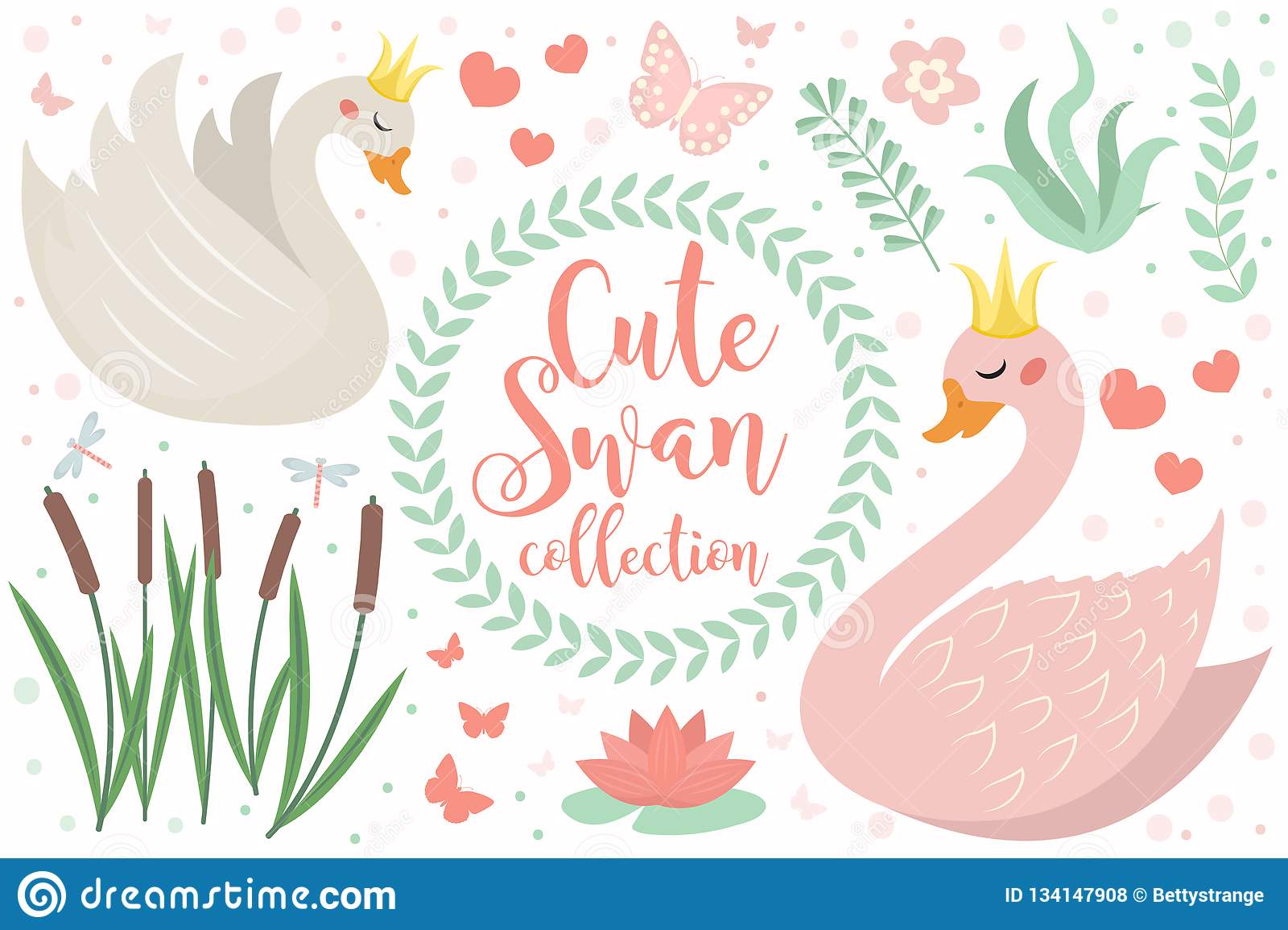 对象逗人喜爱的天鹅公主字符集  设计元素的汇集与天鹅,芦苇,荷花,花,植物的