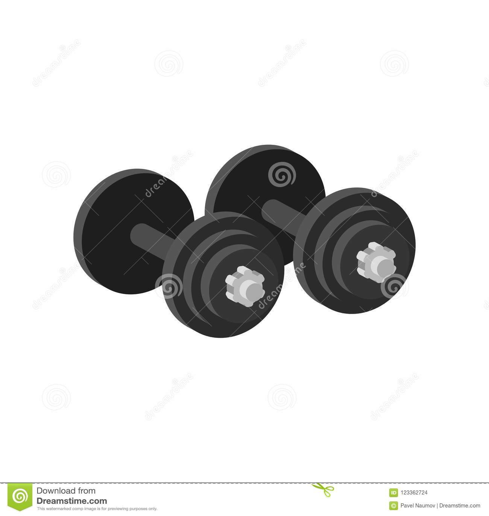 对锻炼的重的哑铃或建造肌肉 健身房的设备 体育和健康生活方式题材 平面