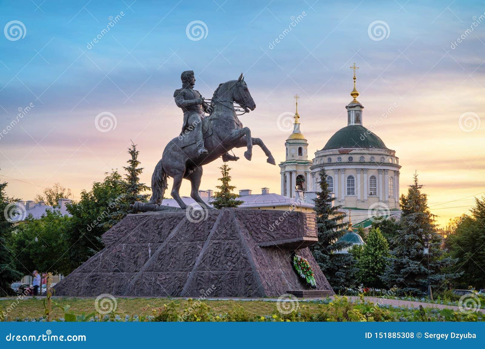 对阿列克谢Ermolov将军的纪念碑在奥廖尔州,俄罗斯