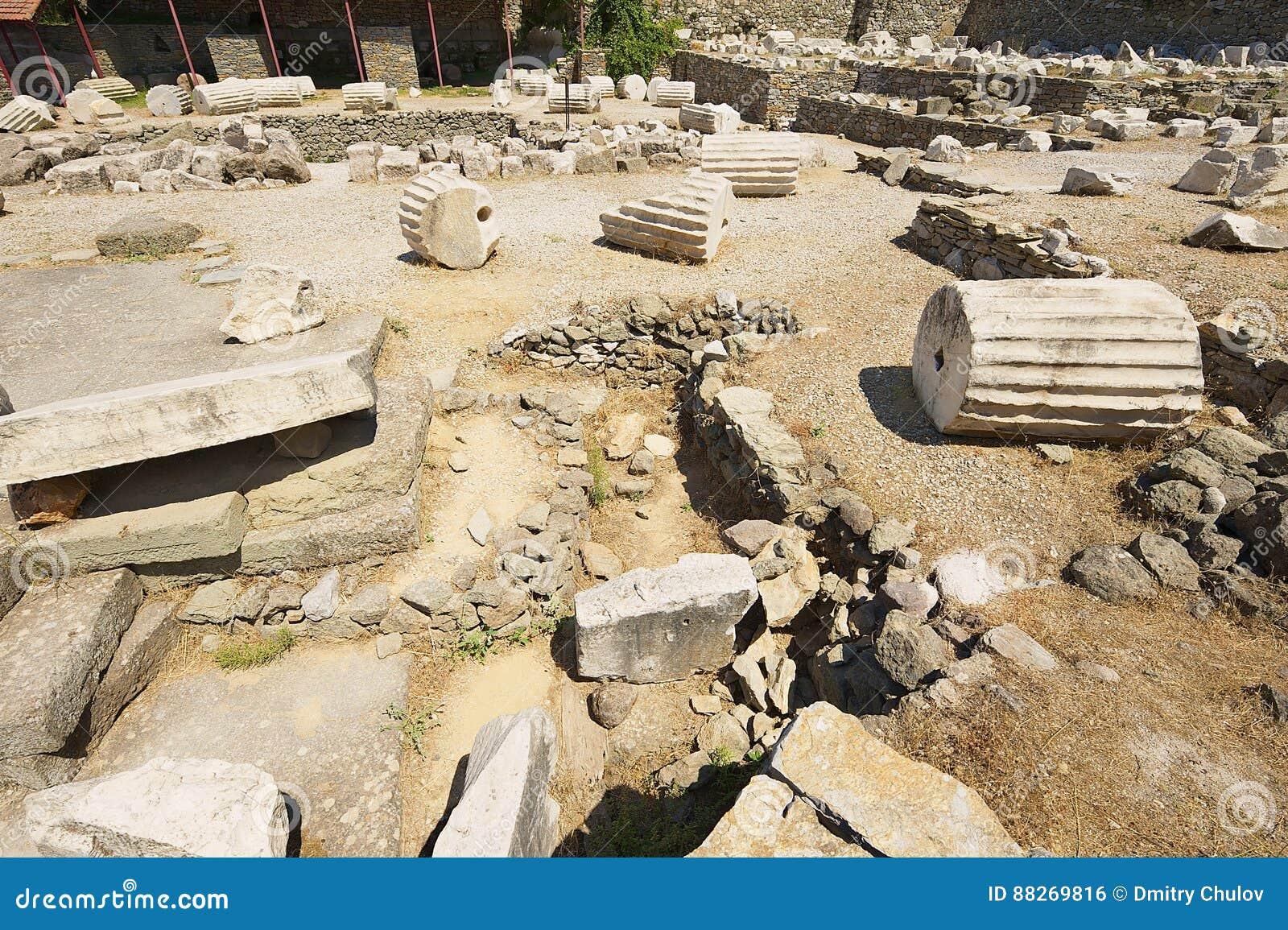 对陵墓的废墟的看法Mausolus,古老世界的七奇迹之一在博德鲁姆,土耳其