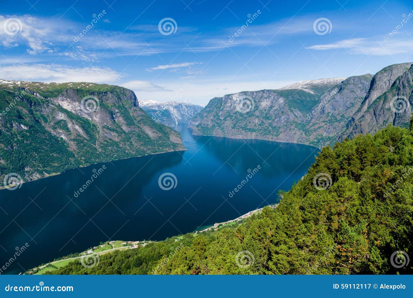 对Sognefjord的夏令时视图从Stegastein观点