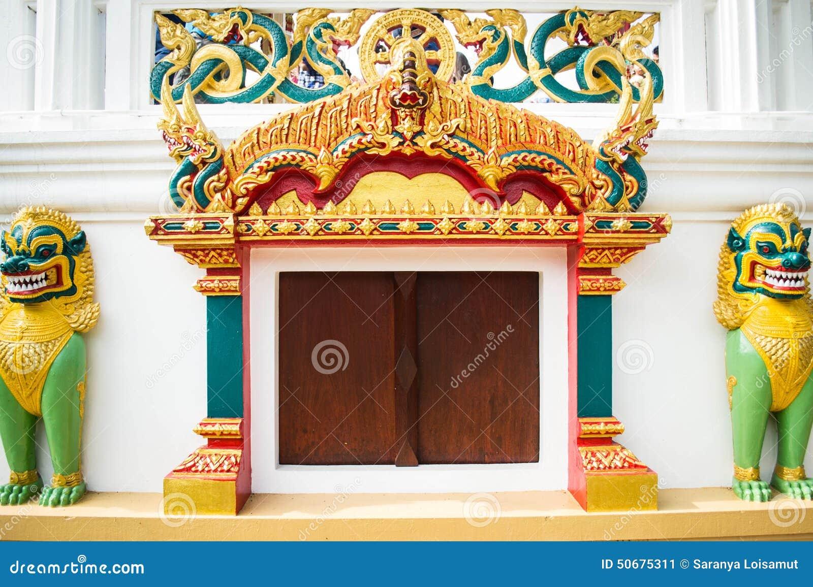 Download 寺庙入口和Singha雕象在寺庙,泰国 库存图片. 图片 包括有 beaufort, 发芽, bulblet - 50675311