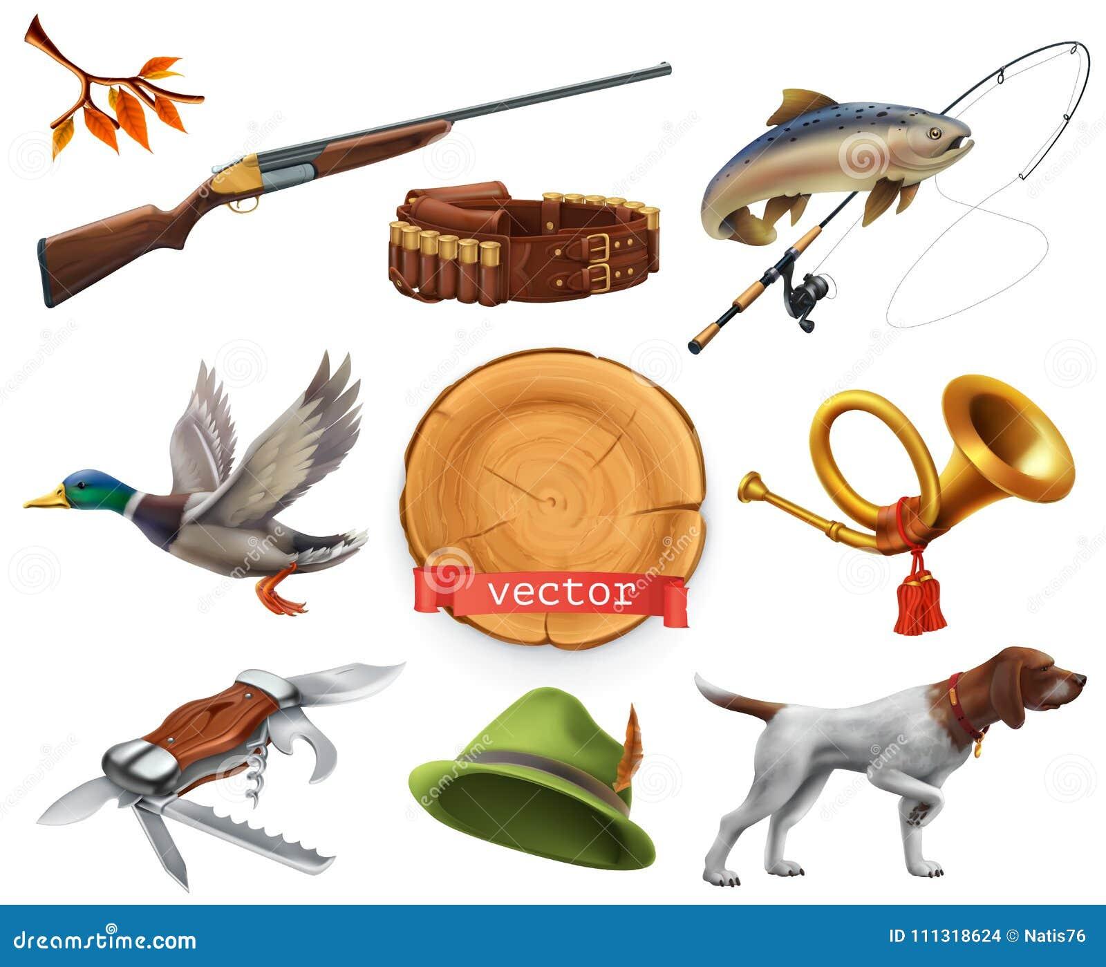 寻找集 猎枪,狗,鸭子,渔,垫铁,帽子,刀子 适应图标