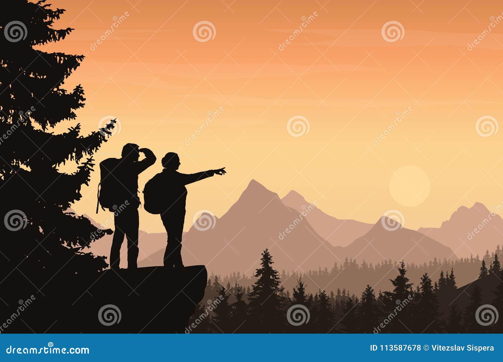 导航一个山风景的例证与森林和tw的