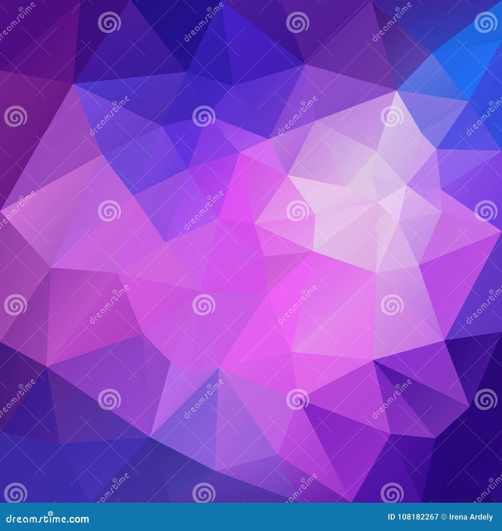 导航不规则的多角形方形的背景-三角低多样式-充满活力的蓝色,桃红色,紫罗兰色和紫色颜色