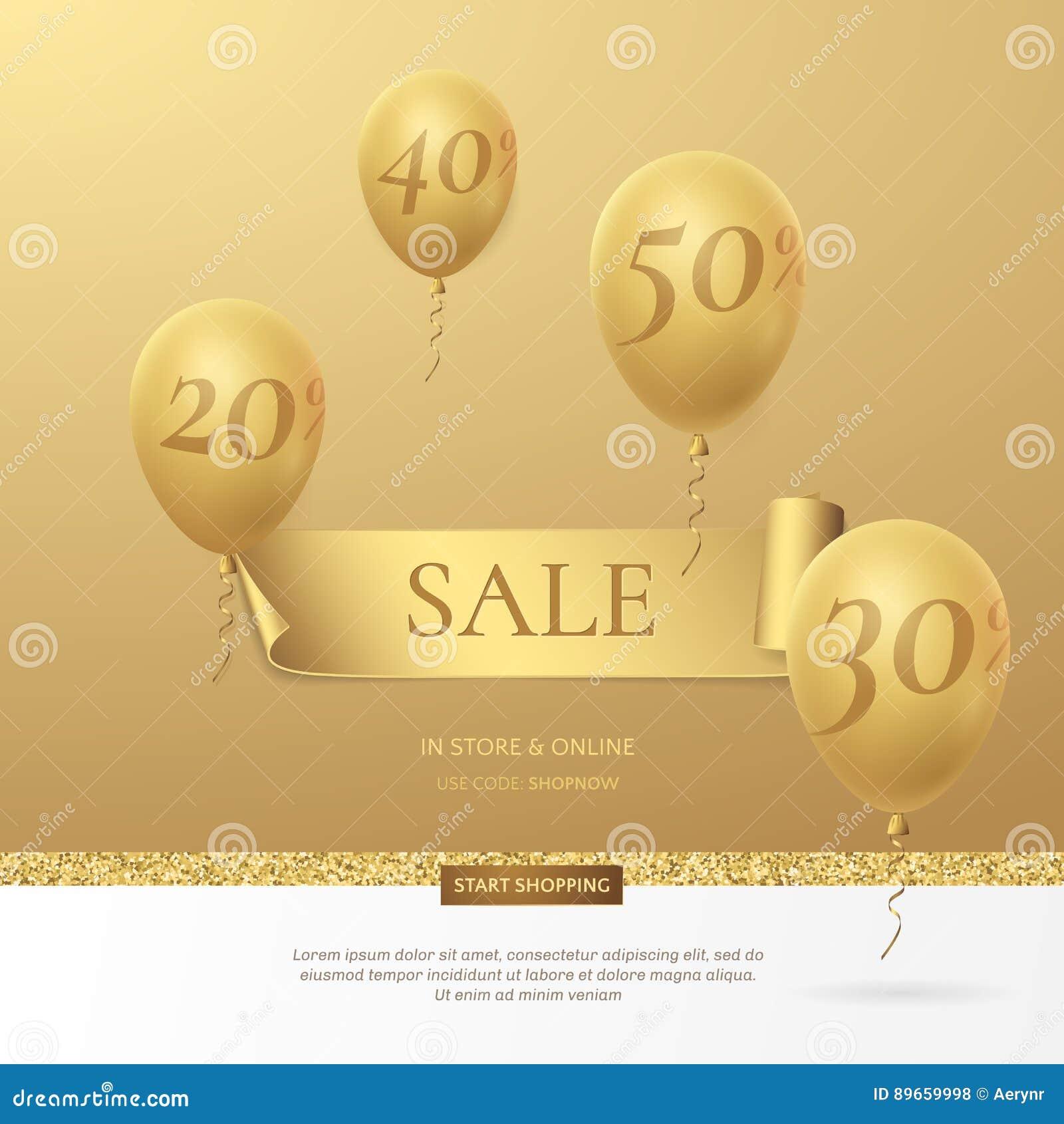 导航与一条金黄丝带和气球的时髦的销售海报