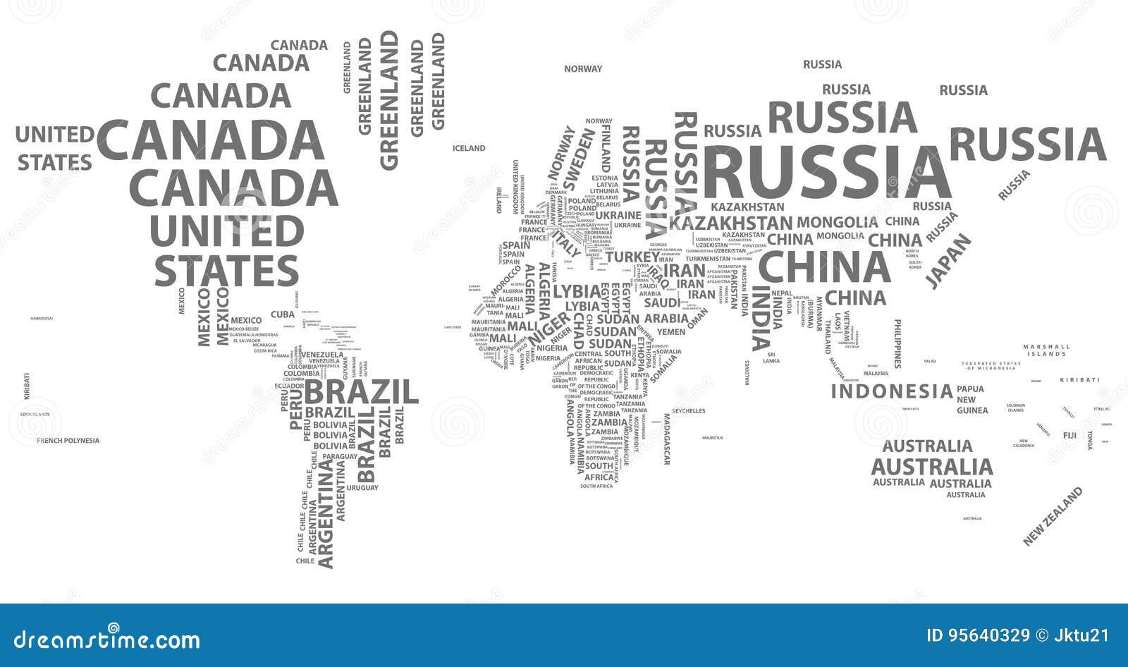 导航与国名的世界地图在印刷术
