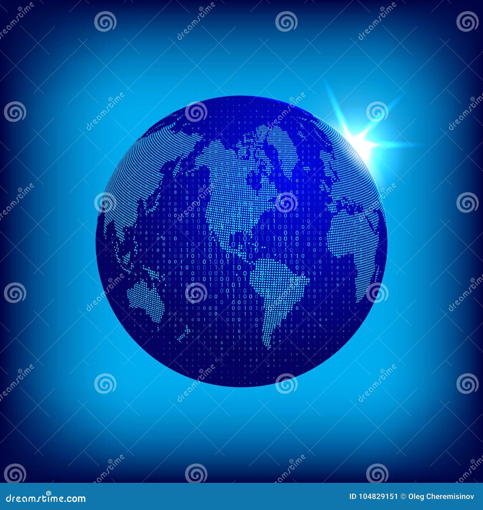 导航与对偶码覆盖物的被加点的世界地图 Tecnology概念例证 与被加点的大陆的地球地球