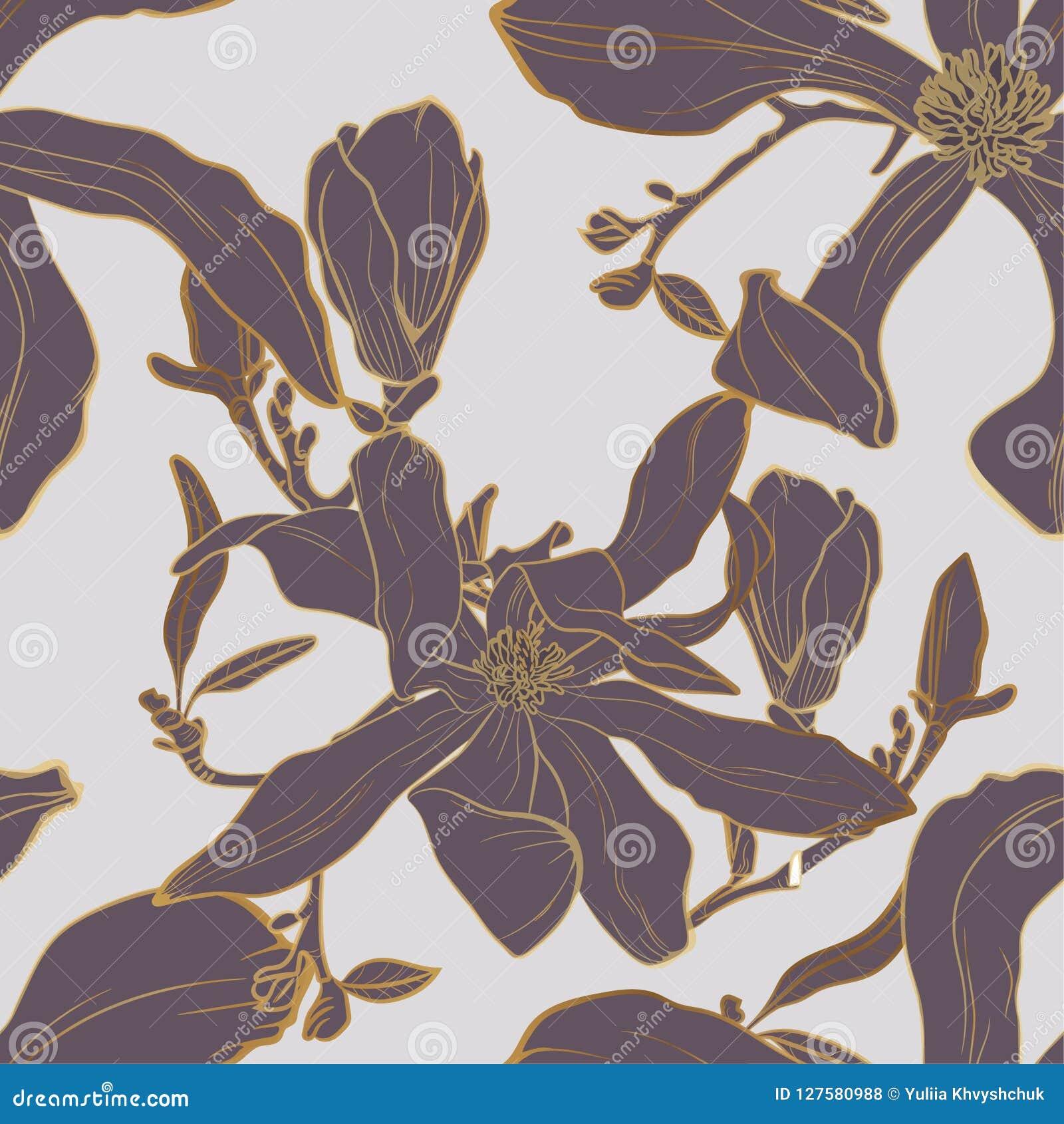 导航与木兰花和叶子的无缝的金黄花卉样式