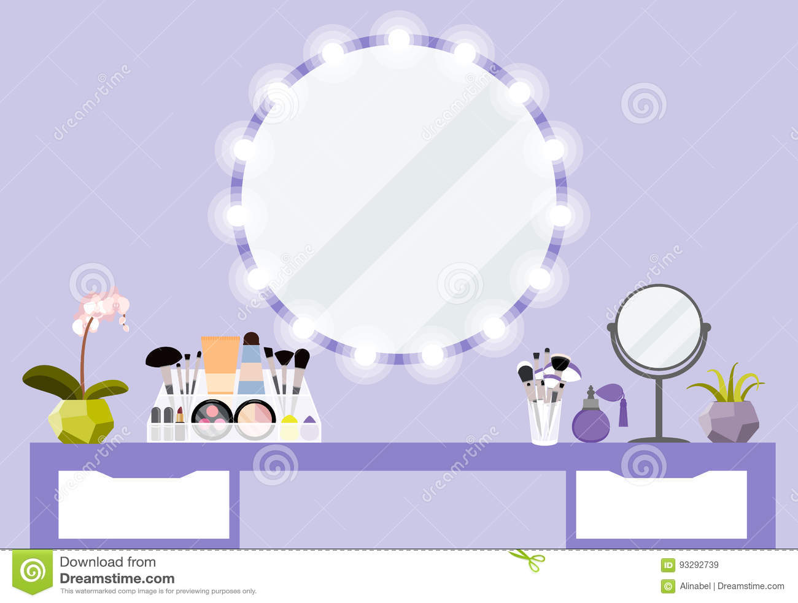 导航与构成桌、镜子和化妆用品产品的例证