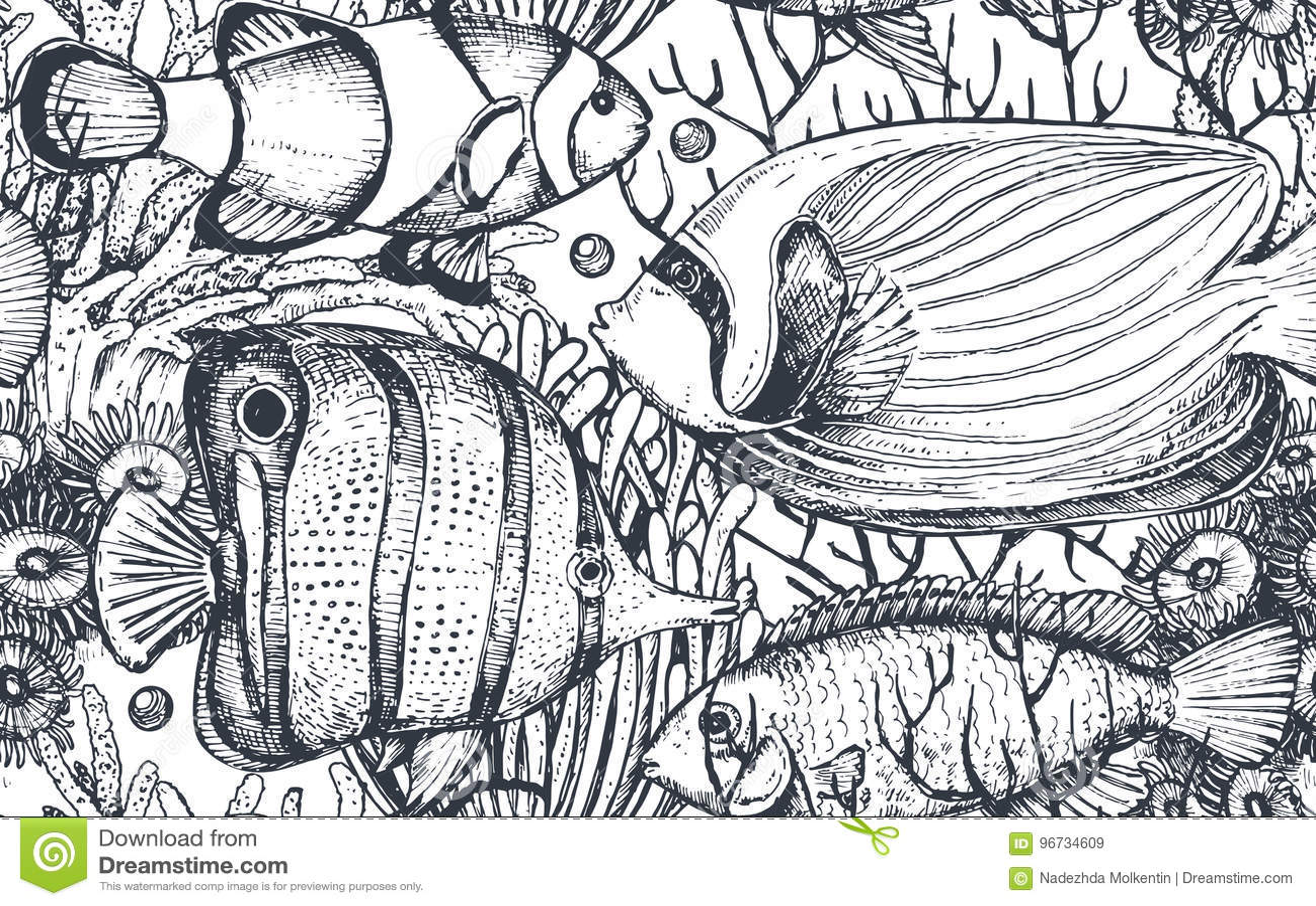 导航与热带鱼,海藻,珊瑚的单色无缝的海样式