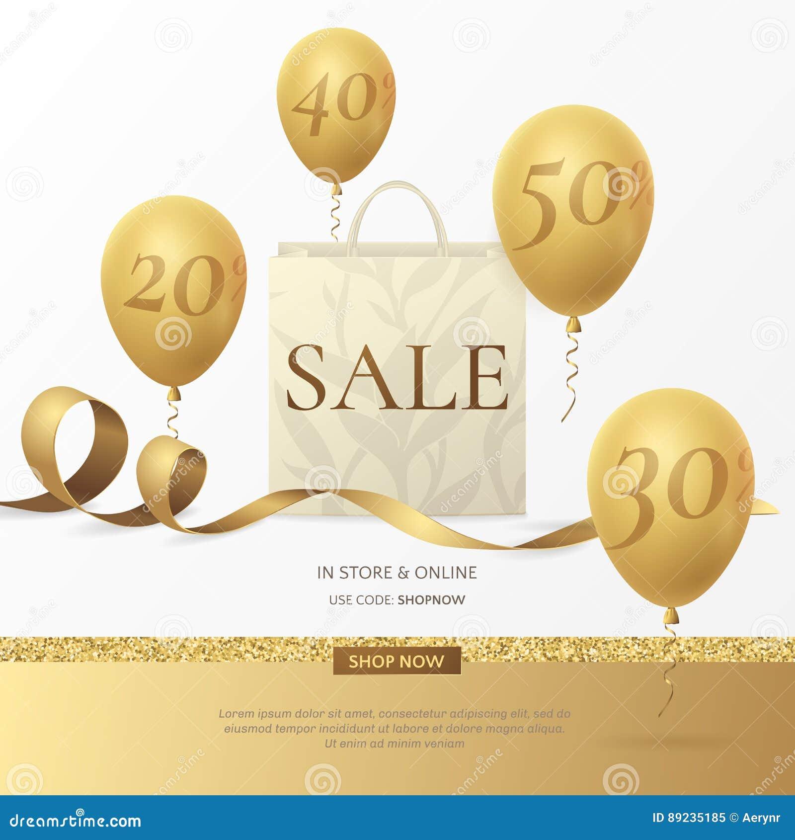 导航与纸购物袋、金黄丝带和气球的时髦的销售海报