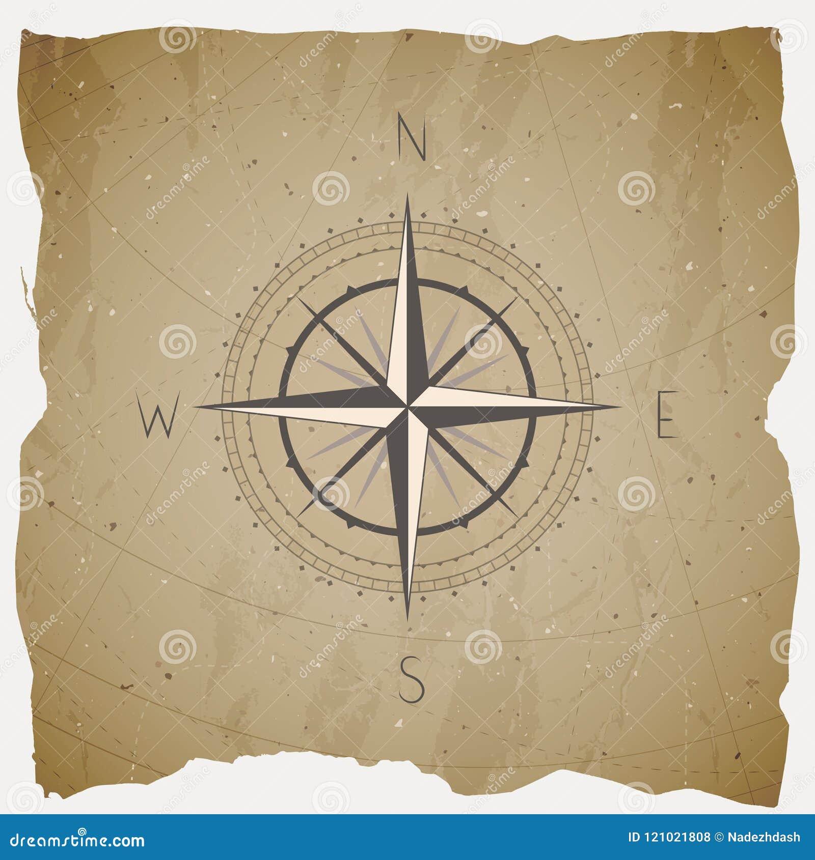 导航与葡萄酒指南针的例证或风在难看的东西背景上升了