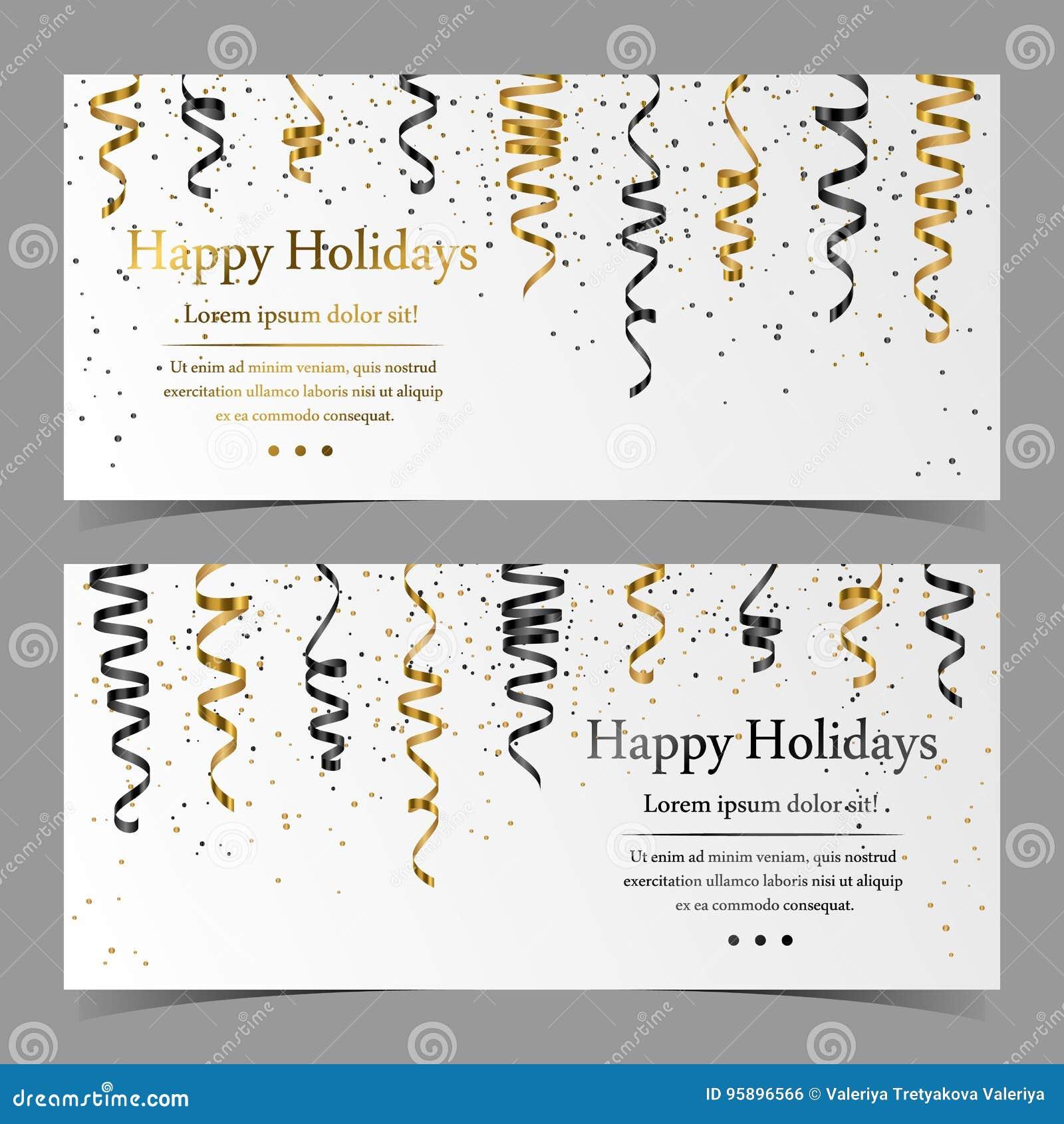 导航与银,金子,黑色蛇纹石,丝带,在白色背景的尘土五彩纸屑的卡片