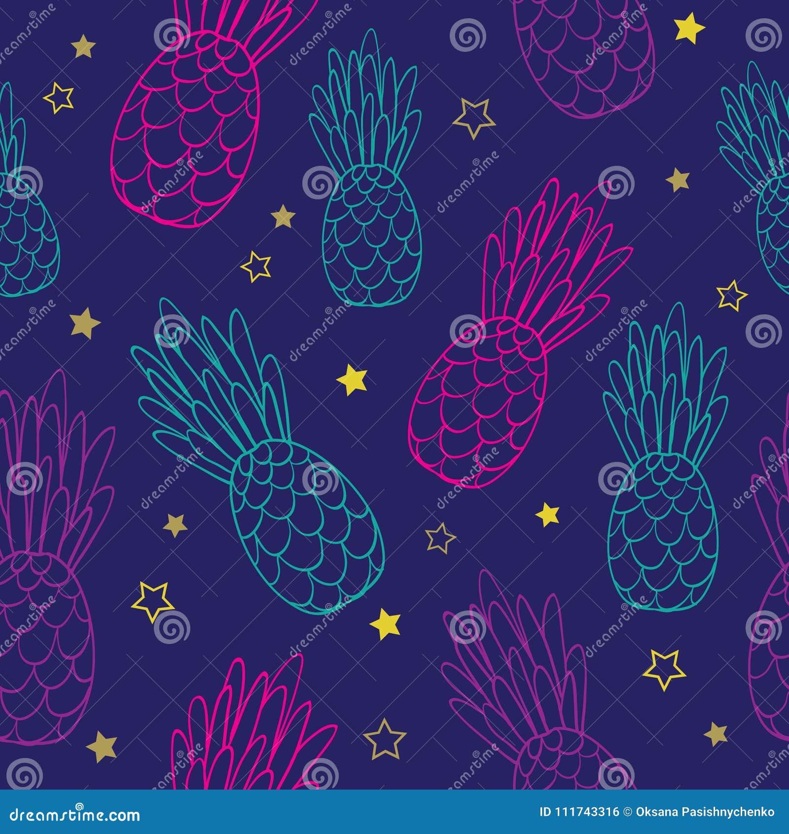 导航乱画深蓝桃红色菠萝夏天热带无缝的样式背景 伟大作为纺织品印刷品,党