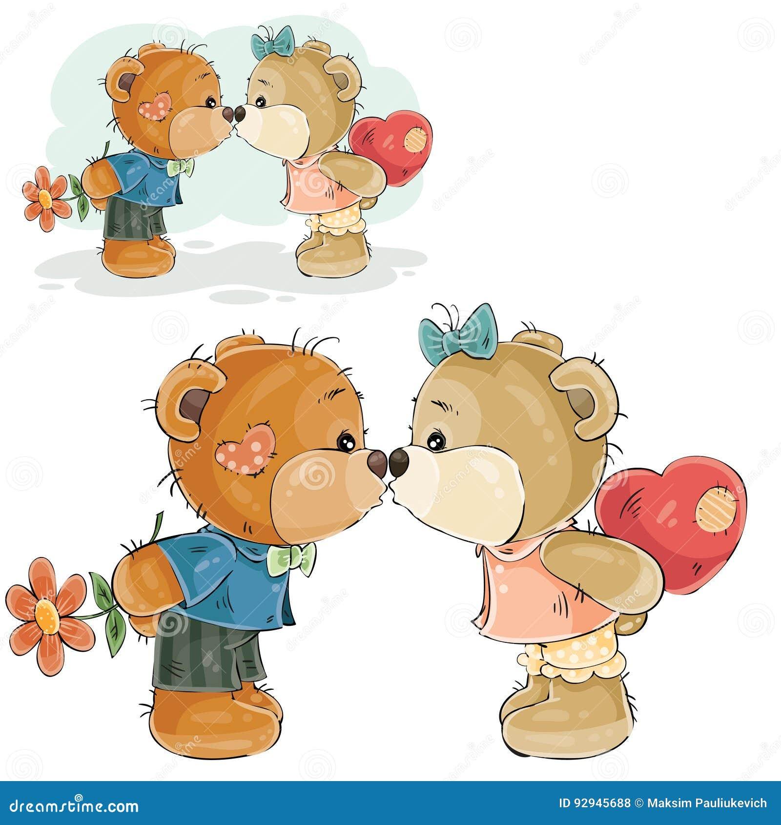 导航亲吻一个对的例证棕色玩具熊男孩和的女孩,爱的声明