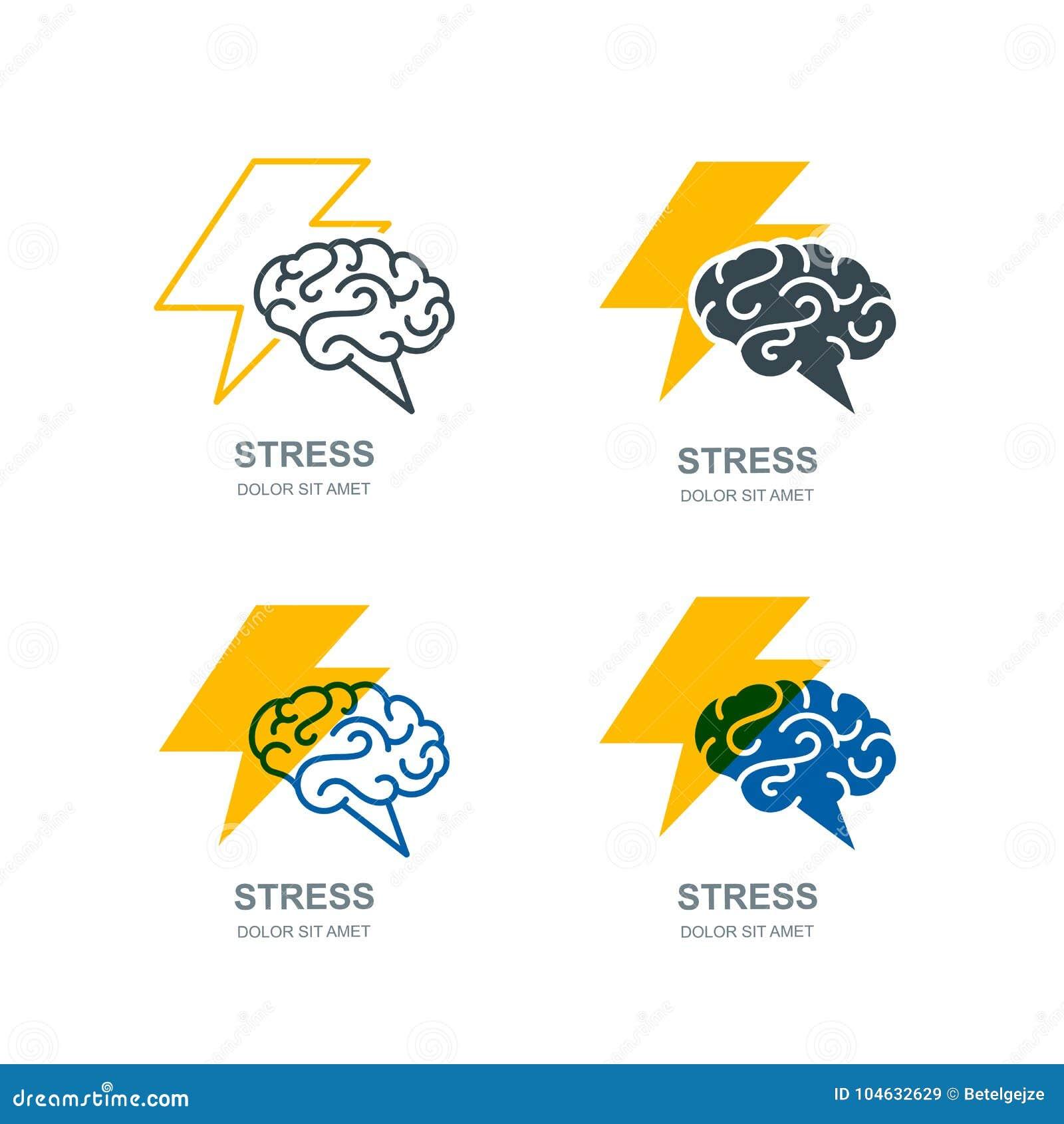 导航人脑和闪电商标,标志 重点概念 激发灵感和创造性被隔绝的例证