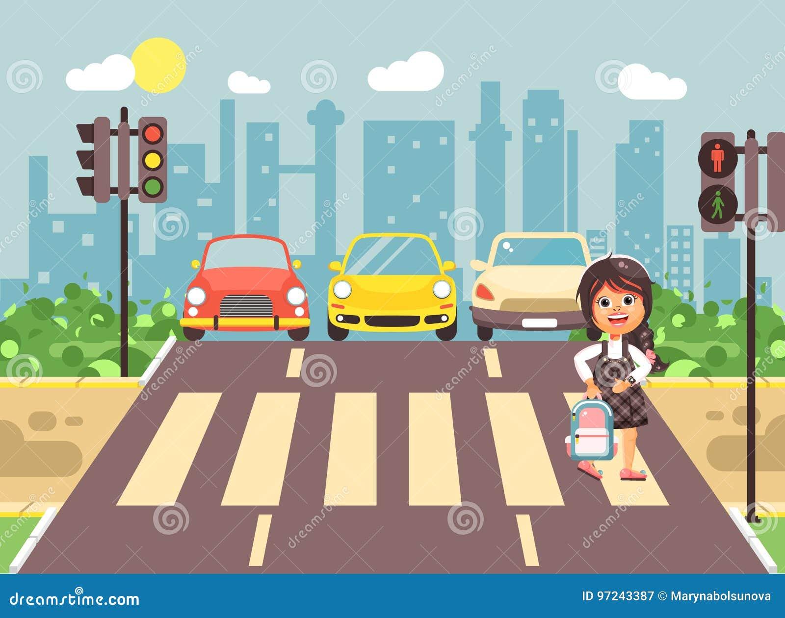 导航例证漫画人物孩子,遵守交通规则,女小学生去的孤独的深色的女孩学童