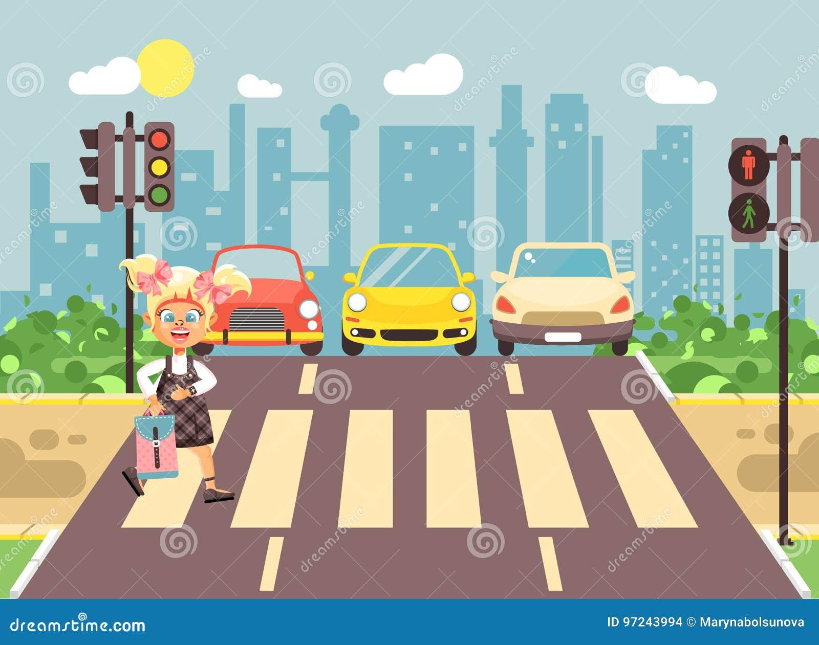 导航例证漫画人物孩子,遵守交通规则,女小学生去的孤独的白肤金发的女孩学童