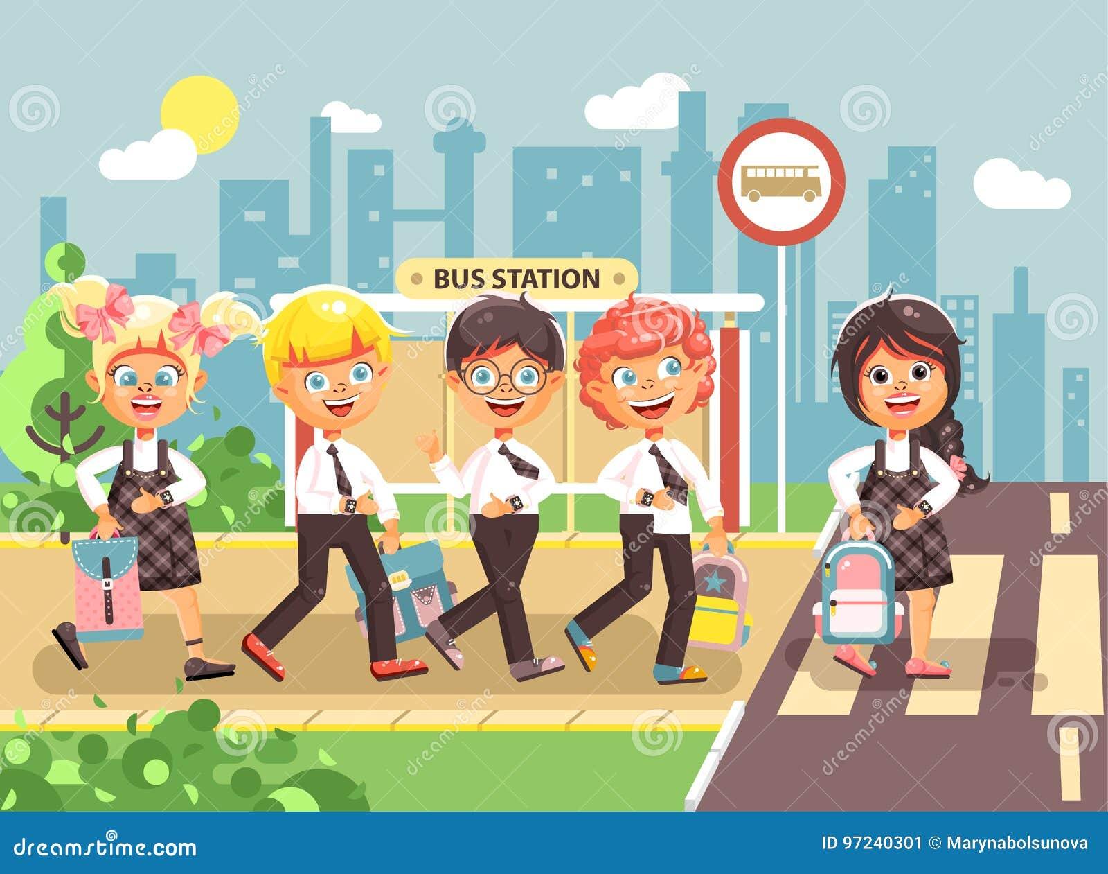 导航例证漫画人物孩子,遵守交通规则,男孩,并且女孩学童同学去