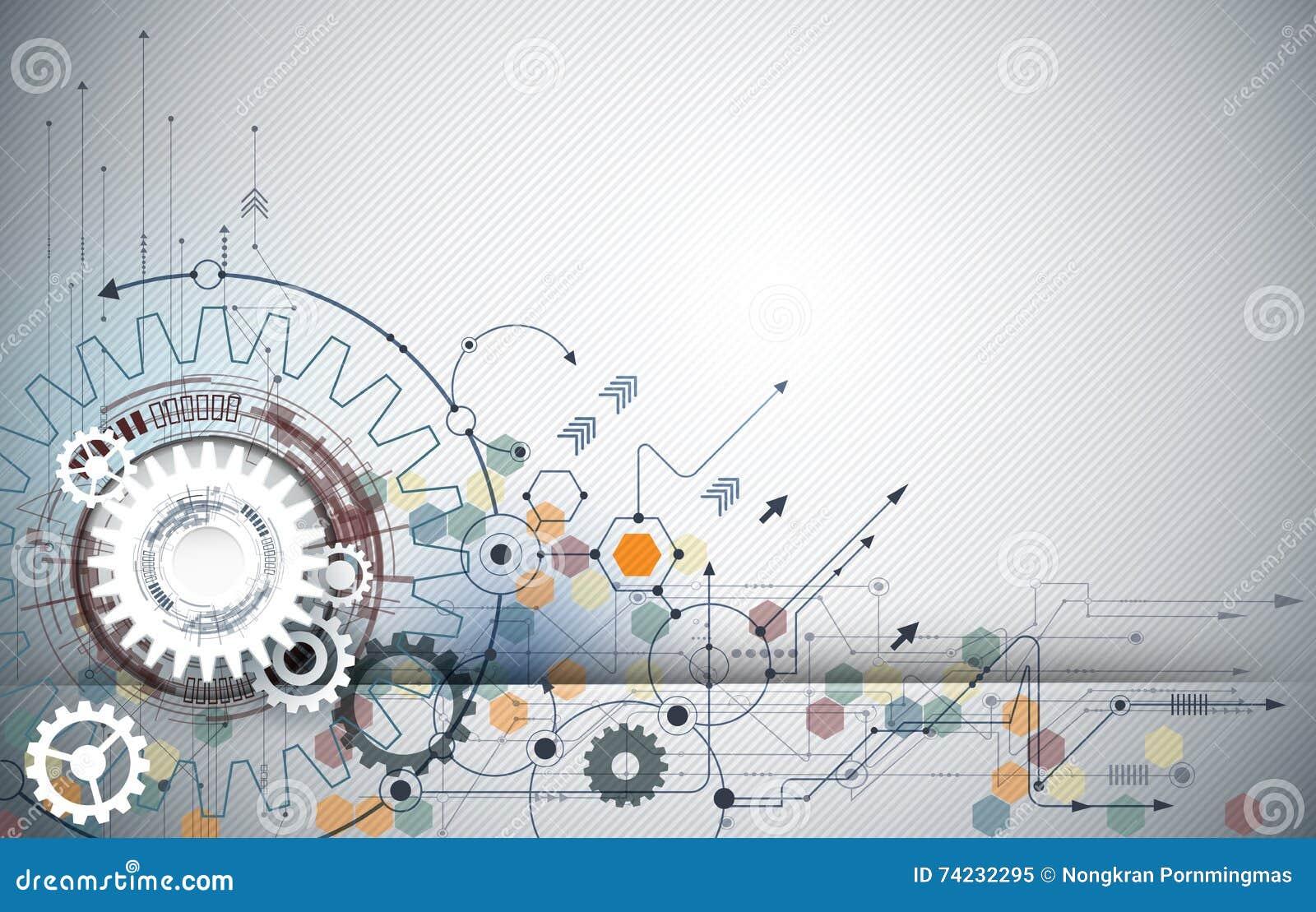 导航例证链轮、六角形和电路板、高科技数字技术和工程学