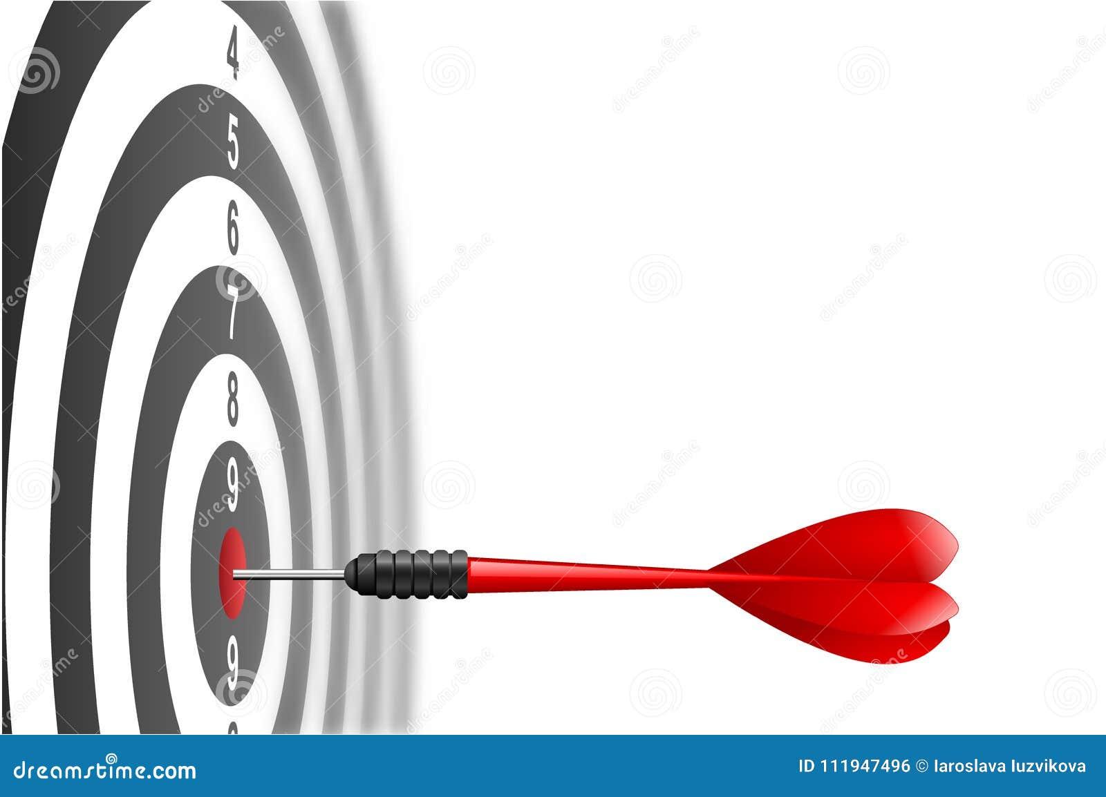 导航击中在掷镖的圆靶的目标中心的红色箭箭头 瞄准成功的隐喻,优胜者概念 查出在白色