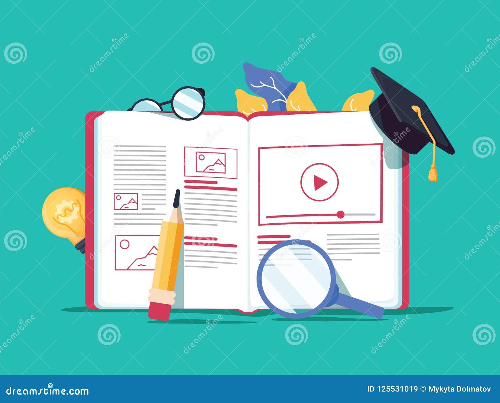 导航创造性的例证,网上电子教学,远距离学习,网络设计,网上路线 书