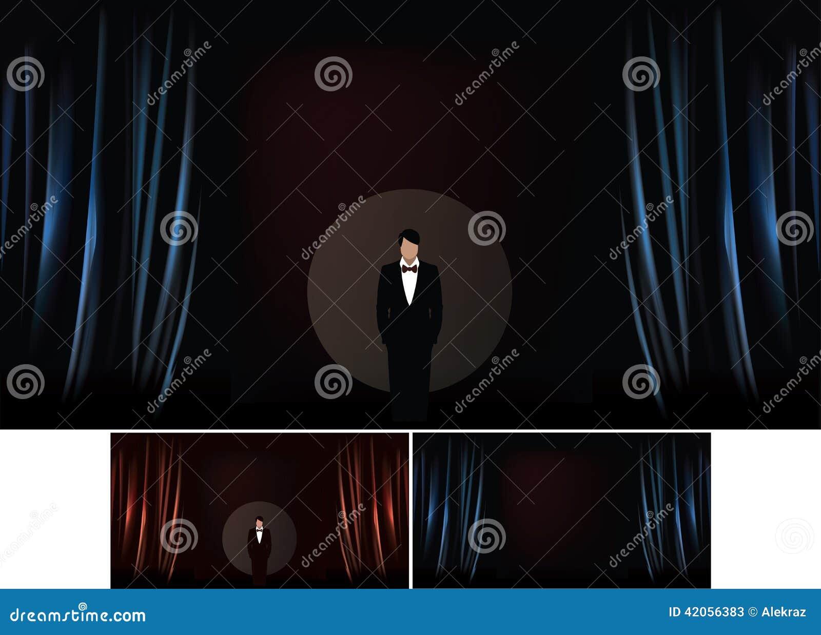 导航剧院阶段的例证与帷幕的现实例证的