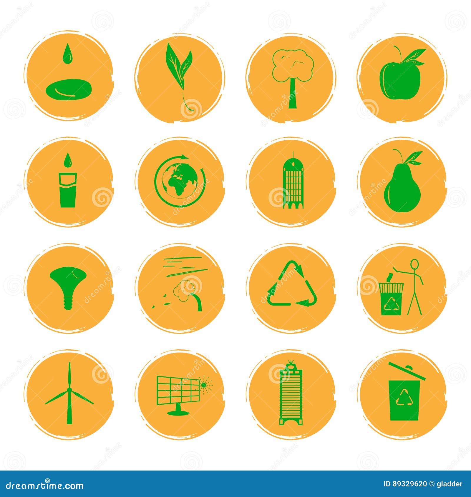 导航十六个黄色难看的东西象的例证与说明一个环境友好的城市的概念绿色图象的