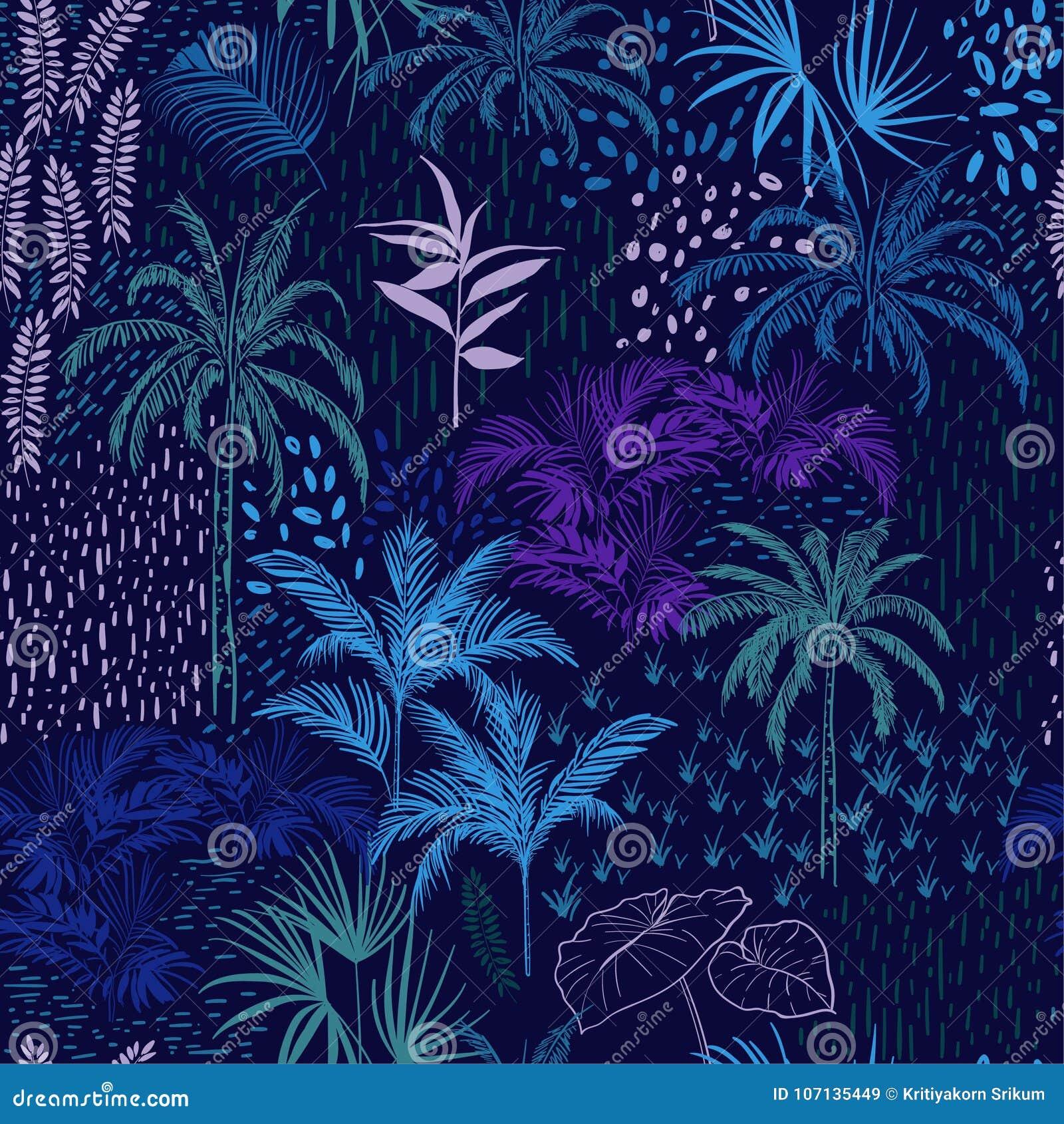 导航单调蓝色森林的无缝的样式夏天tropi的