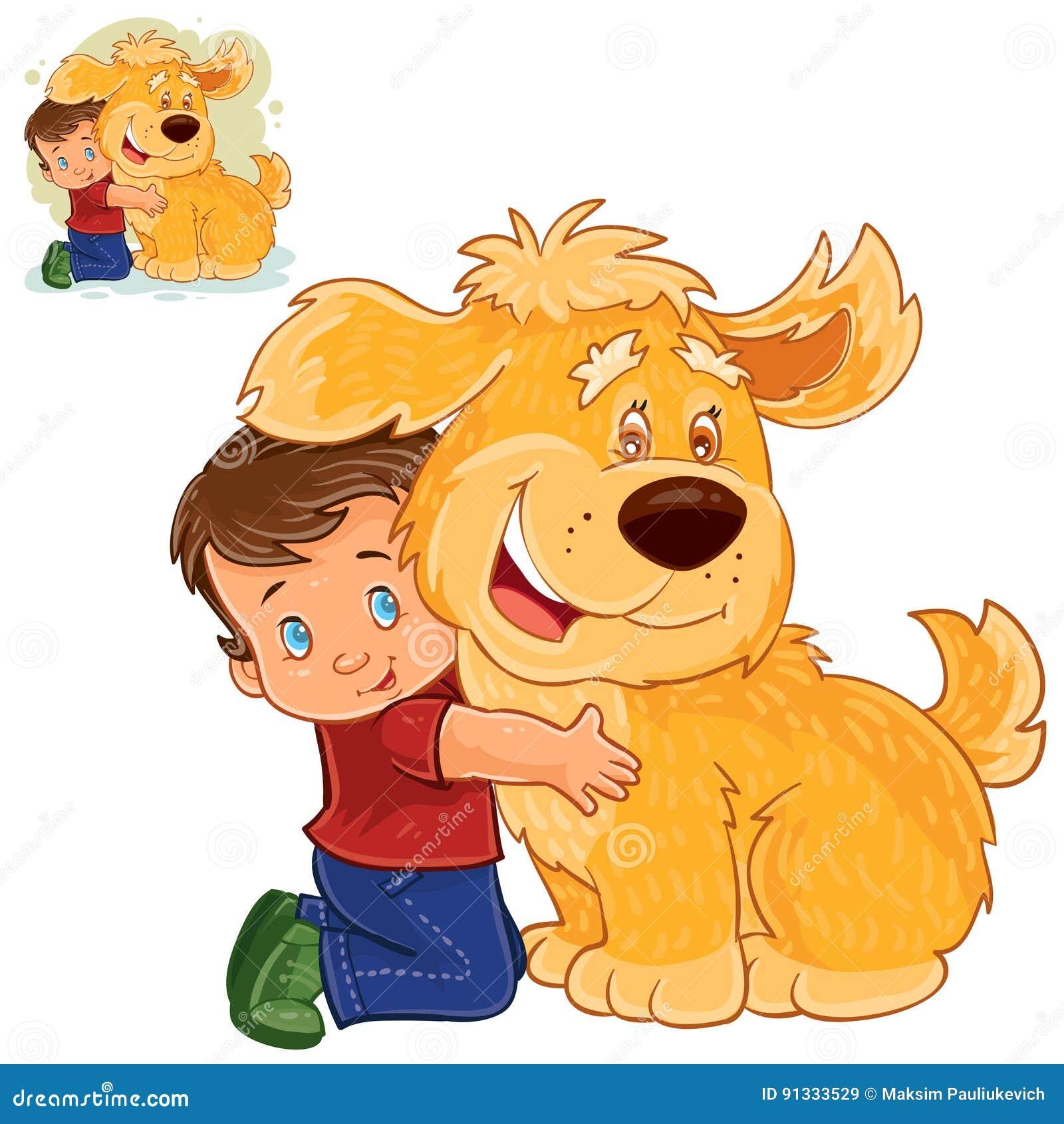 导航坐他的膝部在一条大狗旁边和拥抱他的手的小男孩