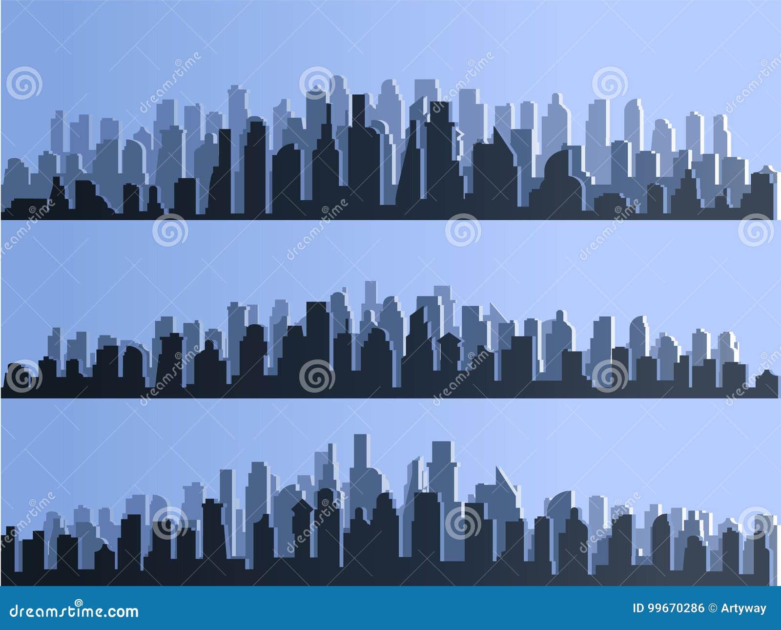 导航大城市镇,修造的摩天大楼,商业中心剪影  微明,蓝色日落,全景