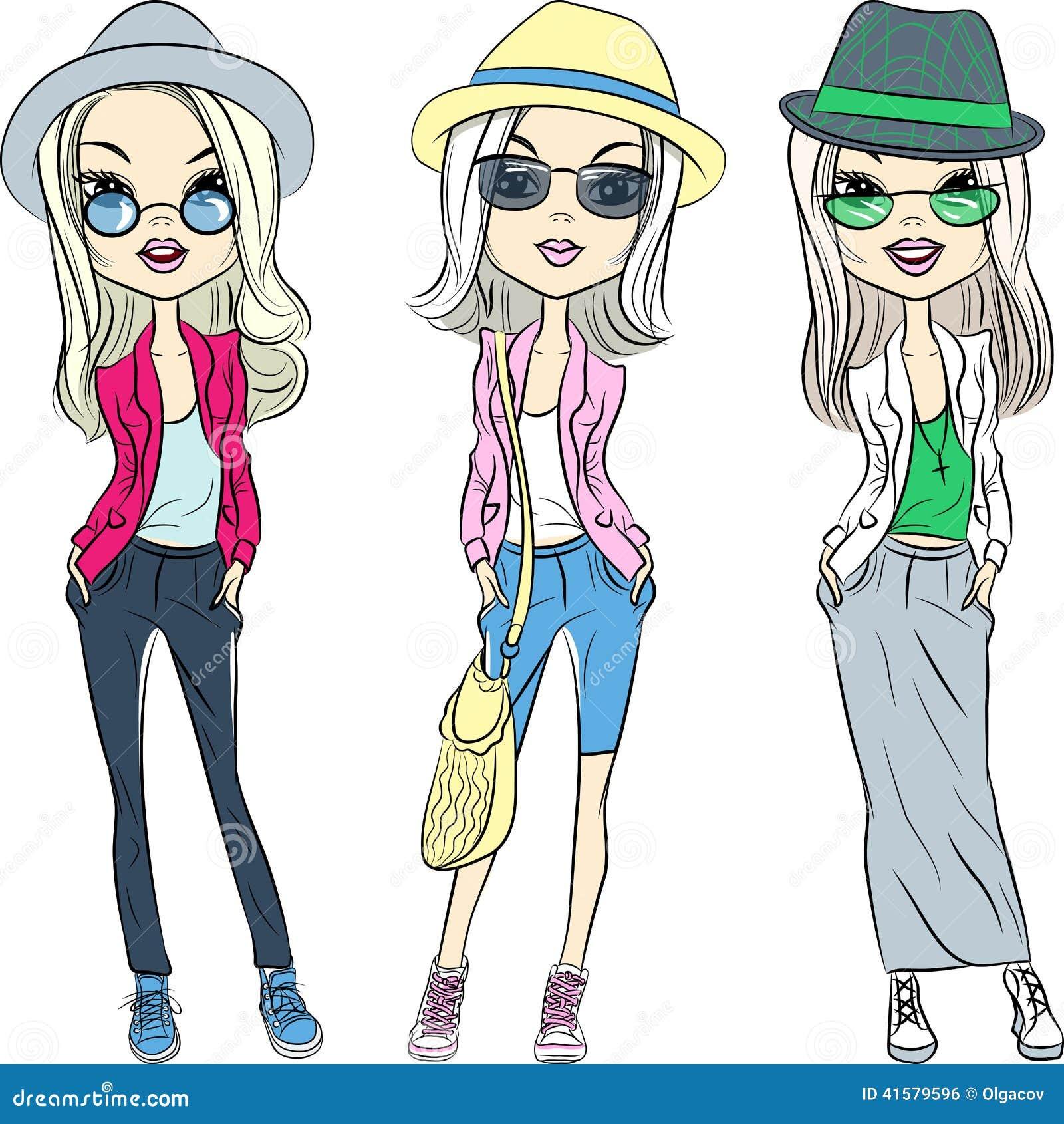 导航帽子和玻璃的美丽的时尚行家女孩