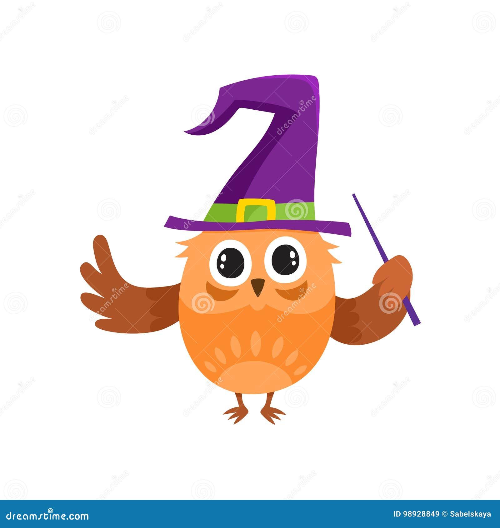 导航平的猫头鹰跳舞巫婆,巫术师指向的帽子