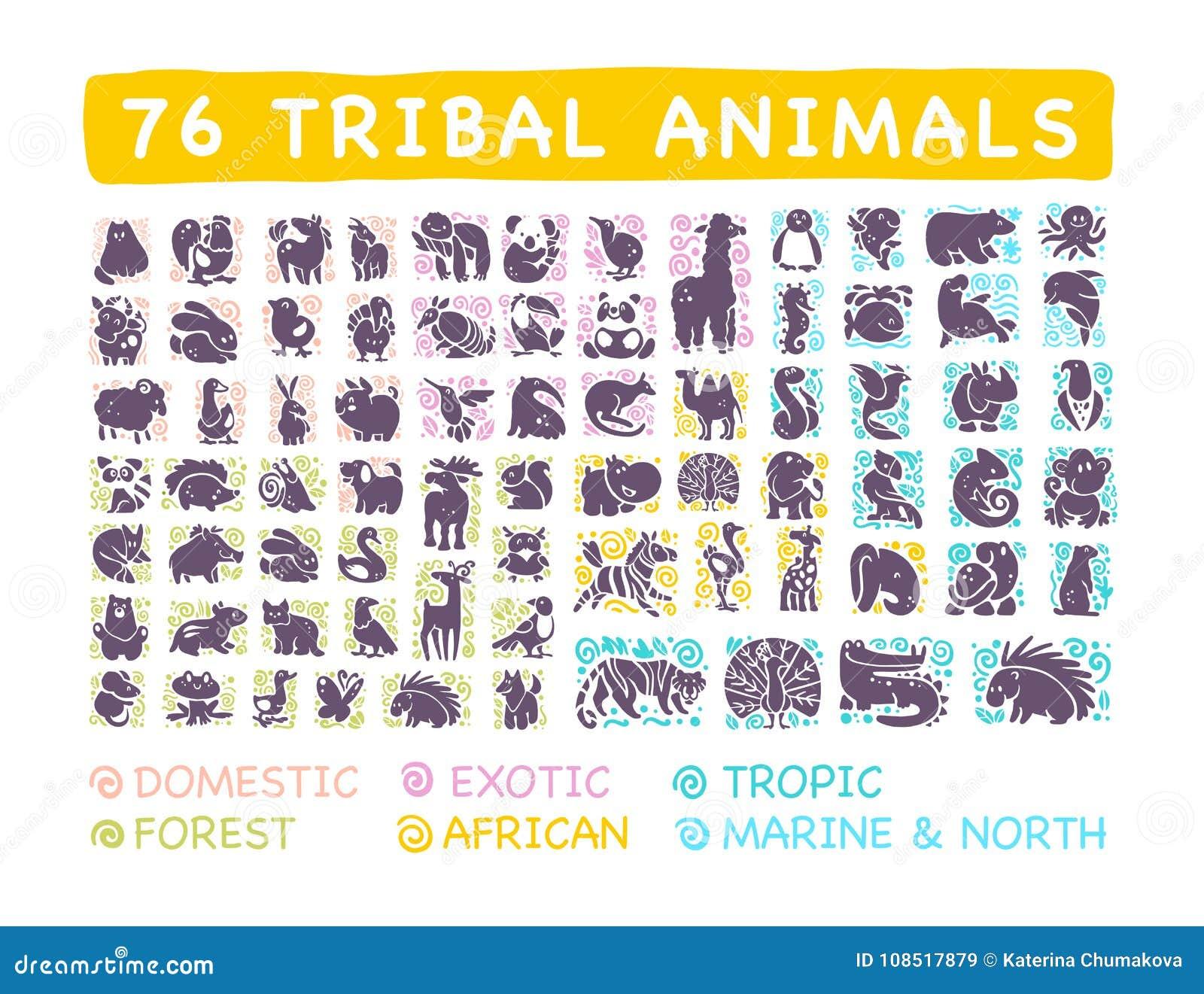 导航平的逗人喜爱的部族动物象的汇集与在白色背景隔绝的手拉的装饰品的