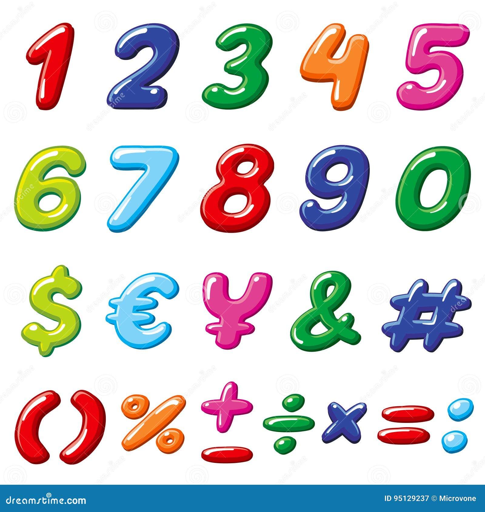导航彩虹糖果数字和光滑的滑稽的动画片儿童字母表标志