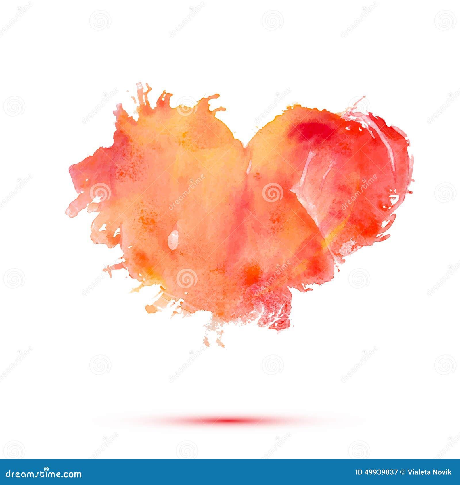 导航情人节或婚礼的抽象水彩心脏