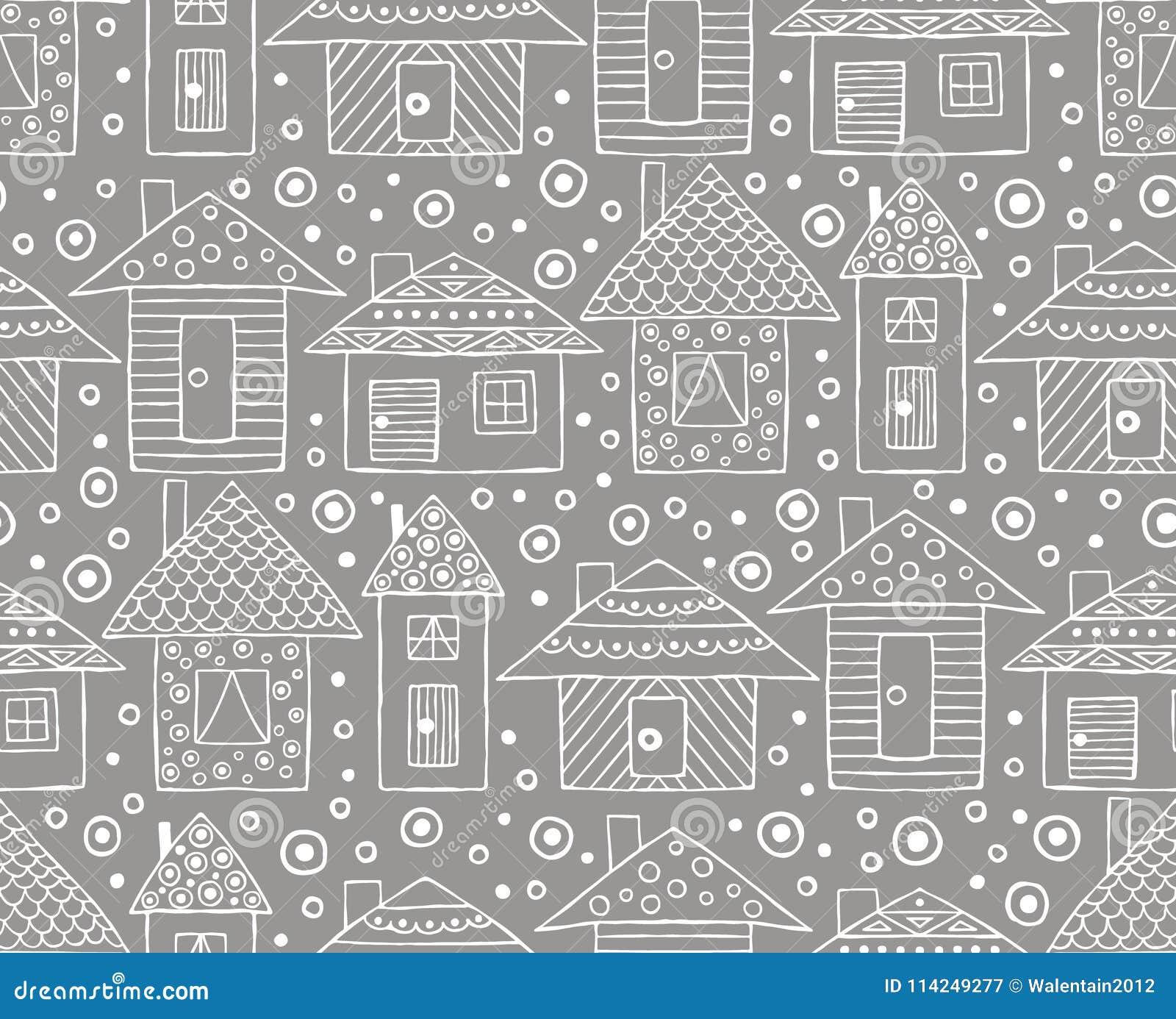 导航手拉的无缝的样式,装饰风格化幼稚房子线描乱画样式,图表例证装饰物