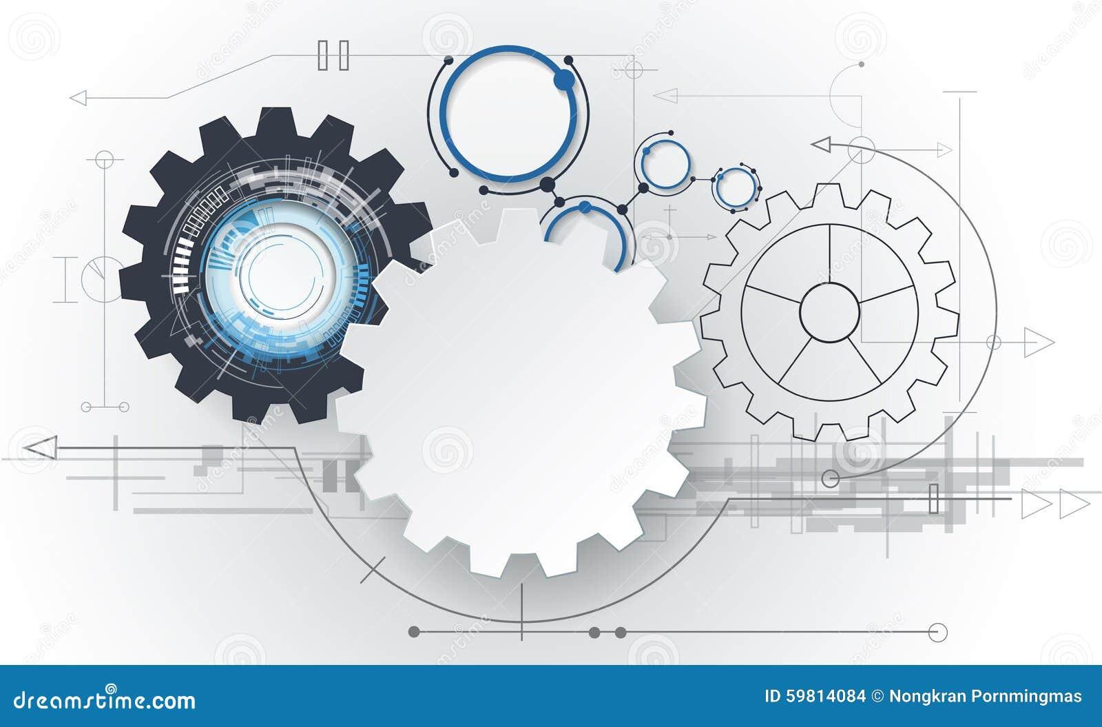 导航抽象未来派, 3d白皮书在电路板的链轮 高科技的例证,设计,数字图片