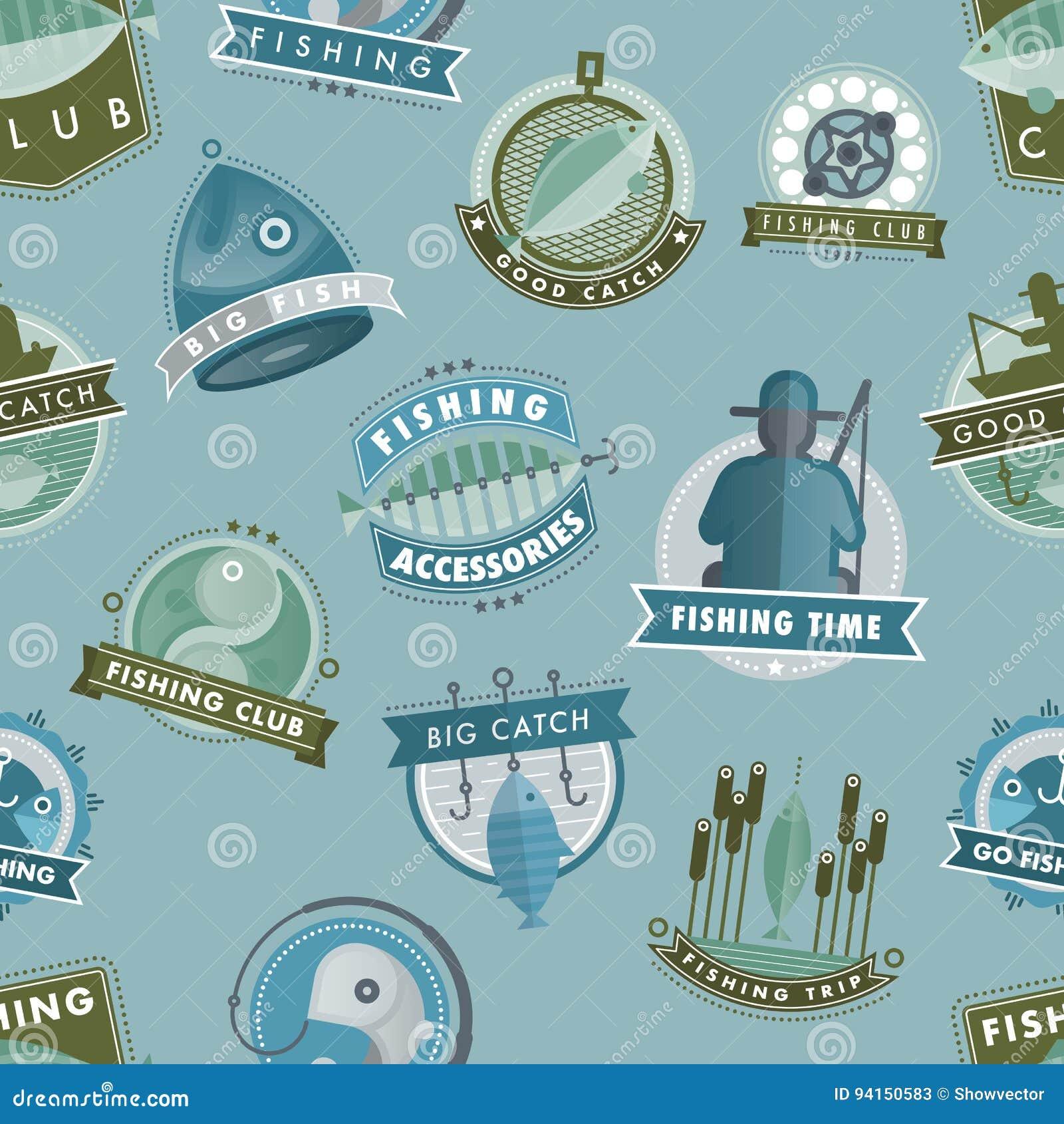 导航捉住鱼渔俱乐部的徽章或购物渔夫商标传染媒介例证无缝的样式背景