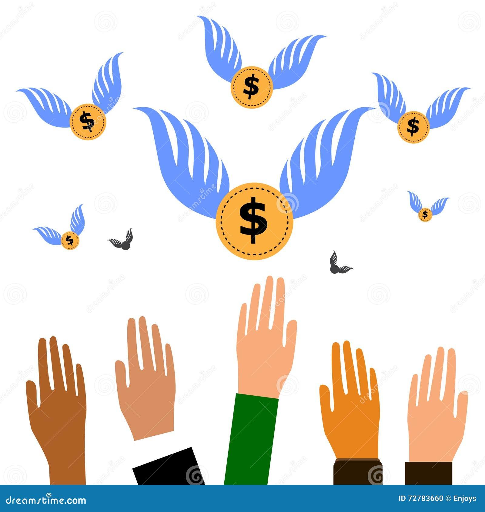 导航提供援助几只的手捉住与翼的飞行的Bitcoin货币硬币