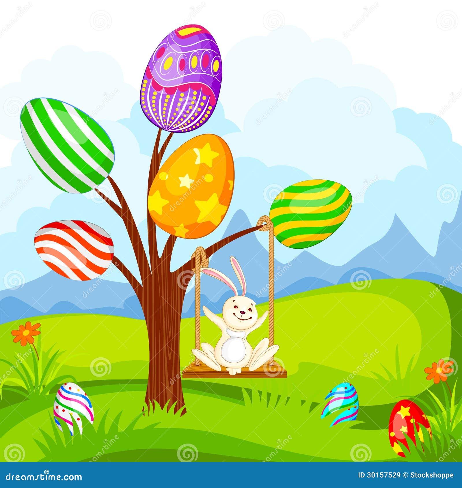 摇摆在蛋树的复活节兔子