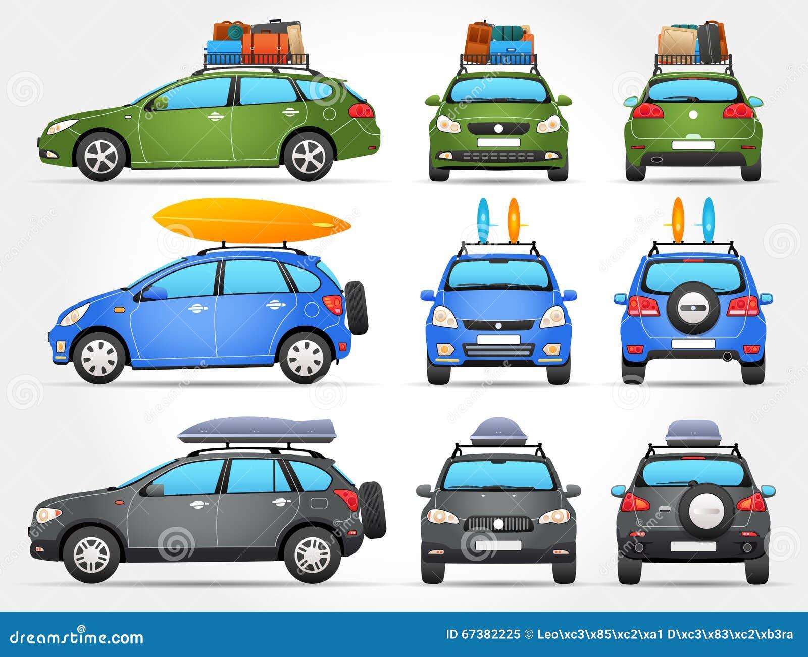 导航旅行汽车-边的前面-后面看法