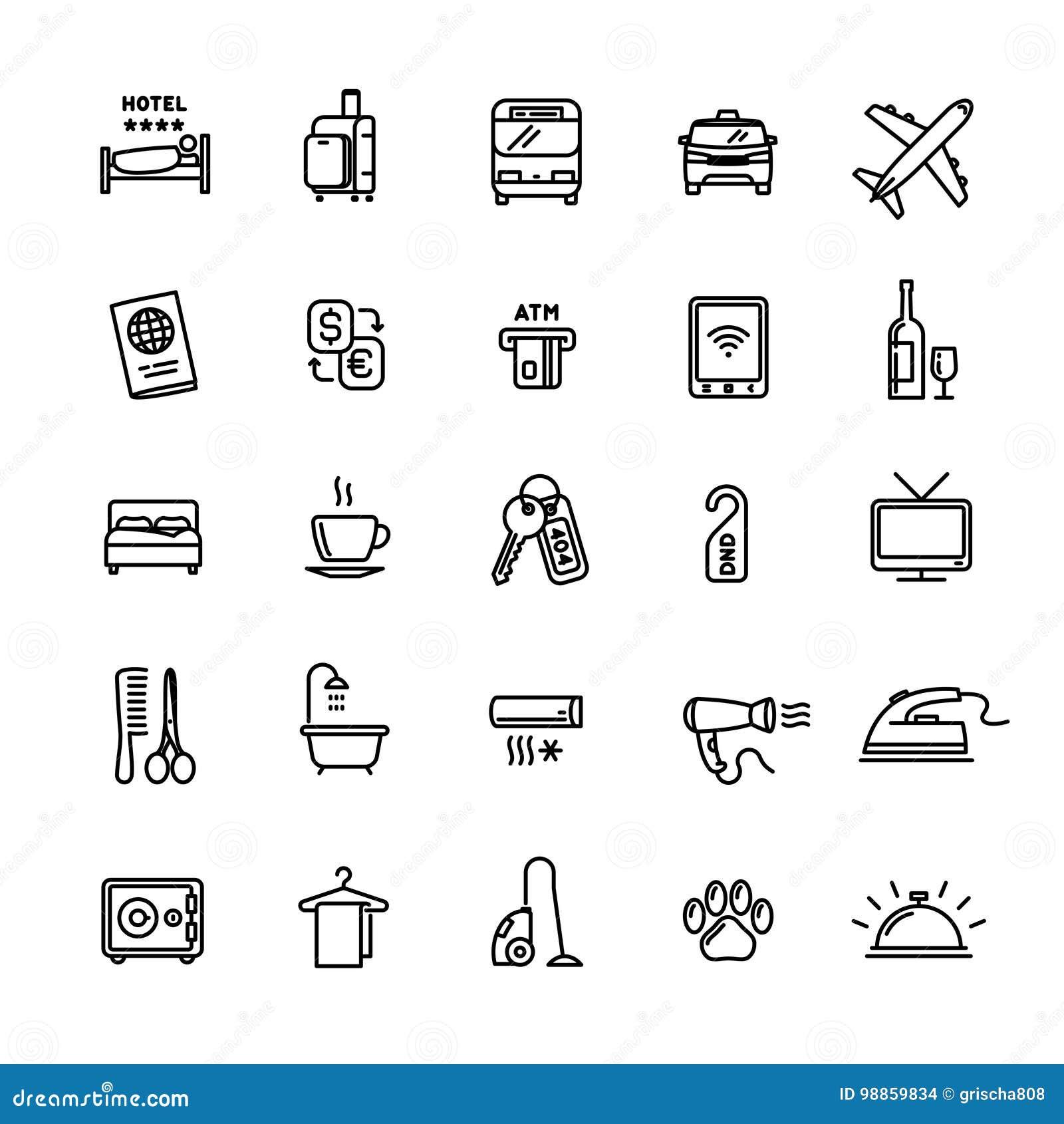 导航旅馆服务相关的套25个轻的概述象