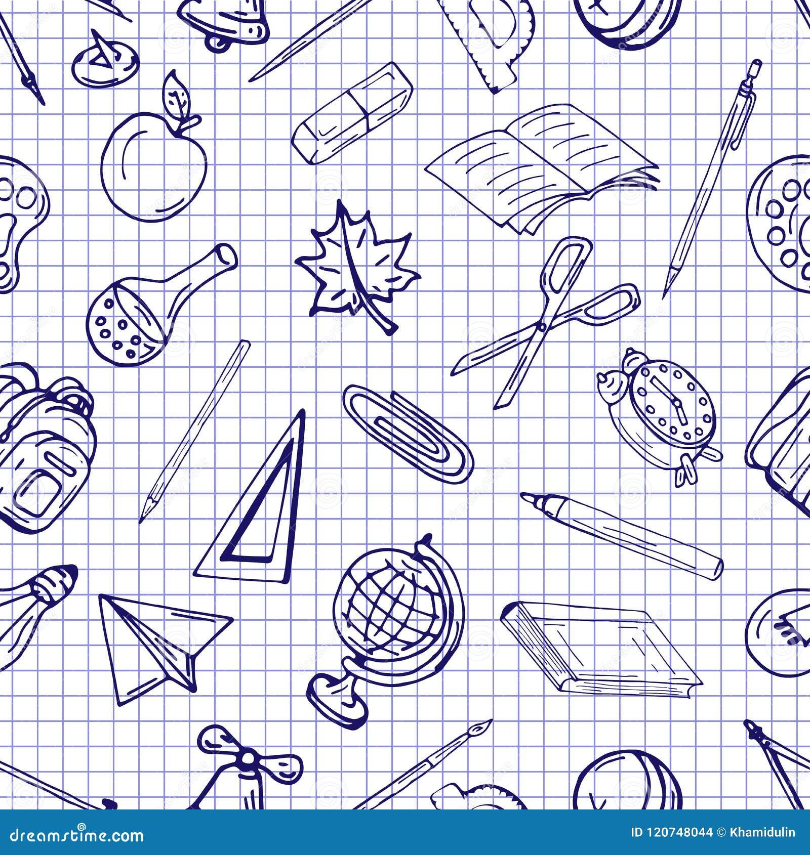 导航无缝的不同的学校对象样式减速火箭的图画  回到学校的题材 能为背景使用