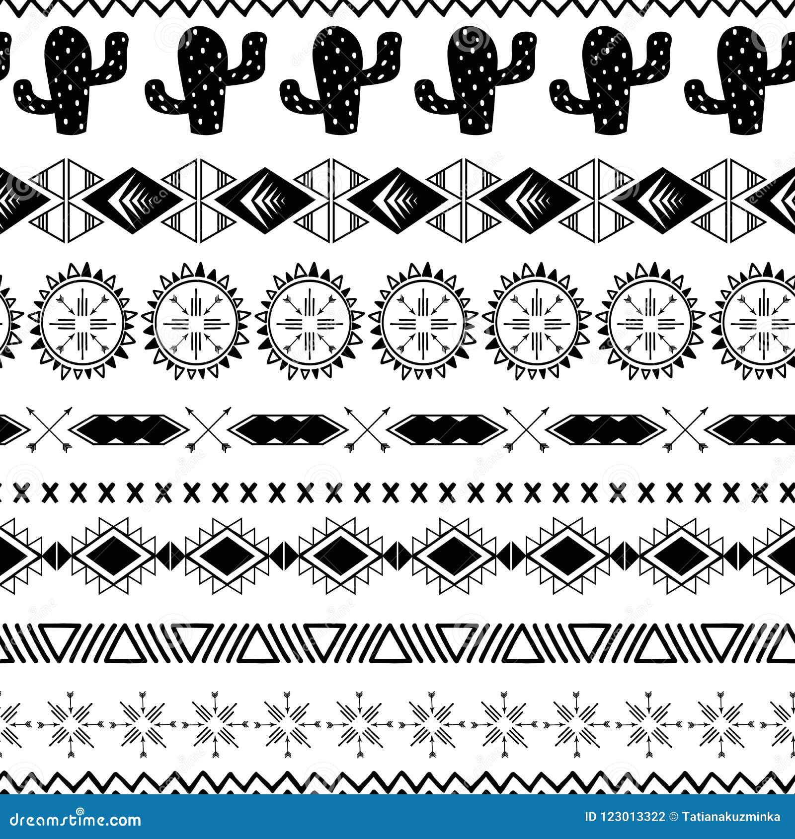 导航无缝的部族种族在黑白色颜色的样式阿兹台克抽象背景墨西哥装饰纹理