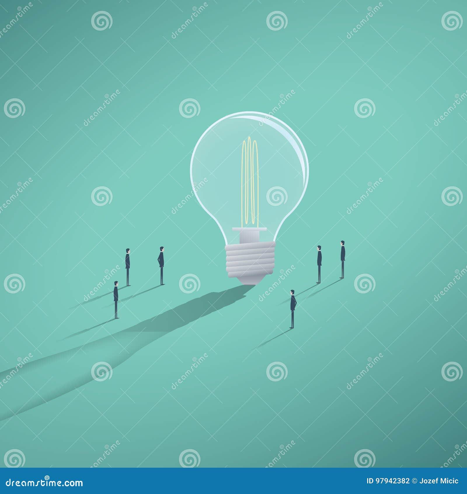 导航有创造性的队的概念激发灵感或workin在解答,想法 有微小的巨型电灯泡
