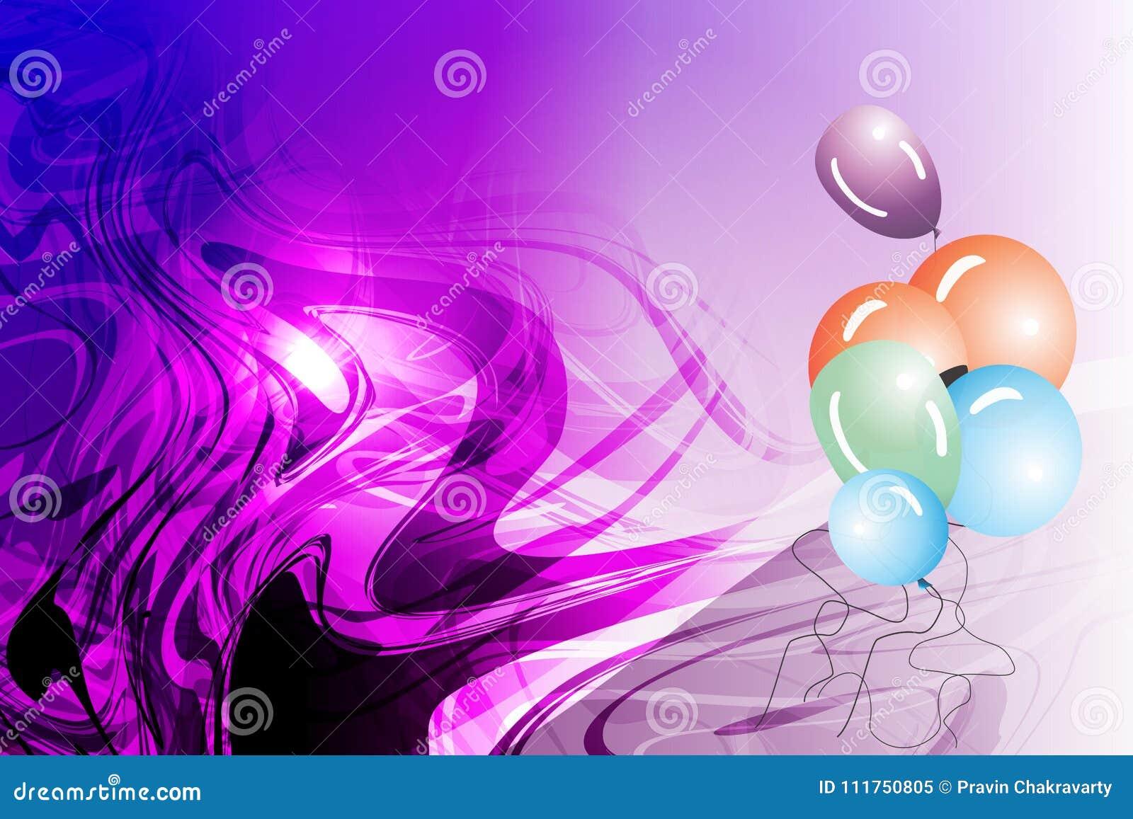 导航有发烟性光线影响和紫罗兰被遮蔽的波浪背景的,传染媒介例证抽象气球