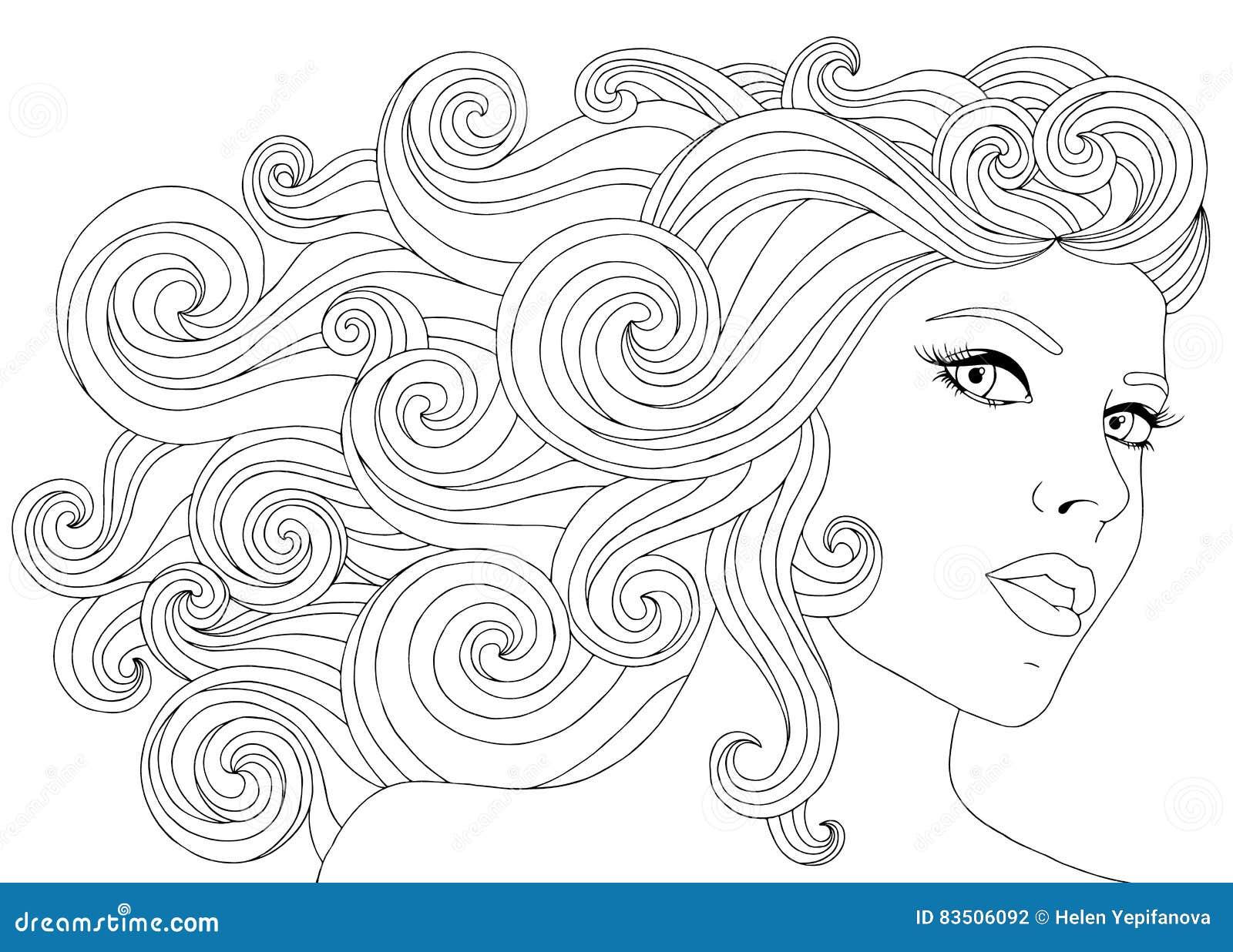 导航有波浪花卉头发的手拉的例证妇女成人彩图的 成人反的徒手画的剪影